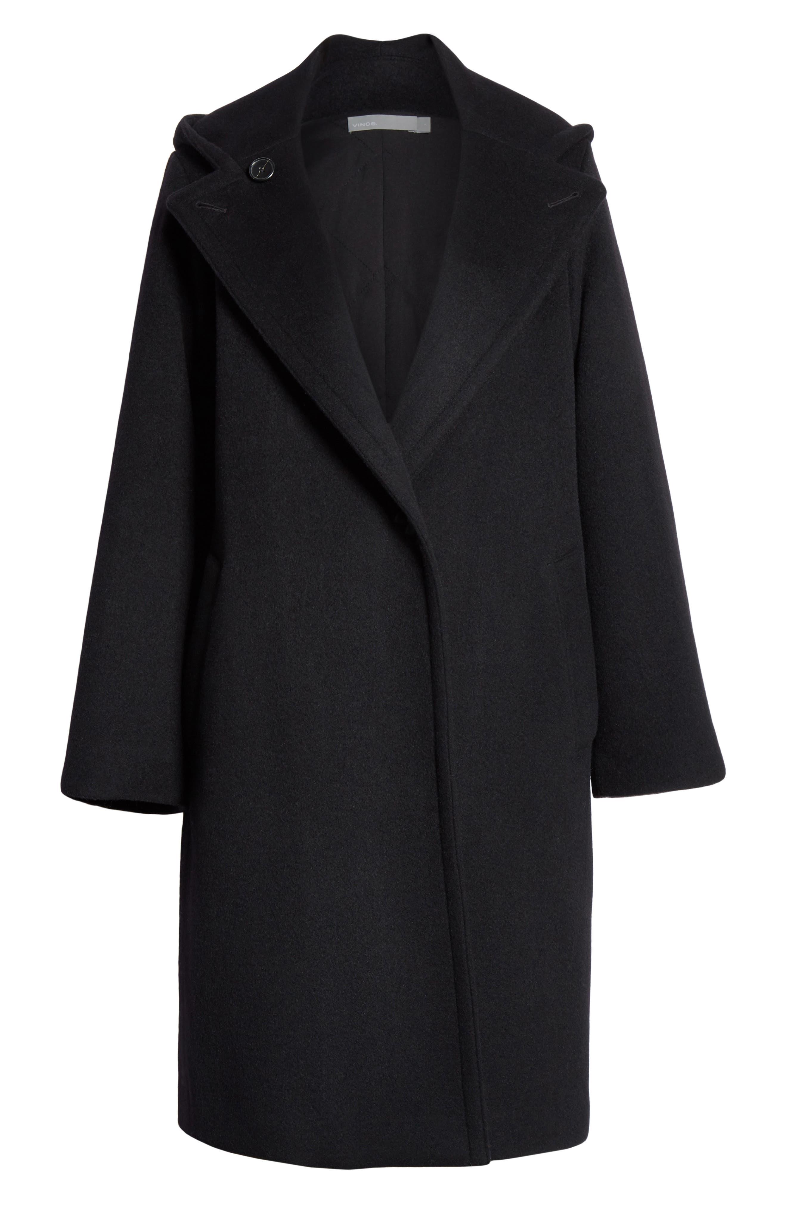 VINCE,                             Hooded Coat,                             Alternate thumbnail 5, color,                             BLACK