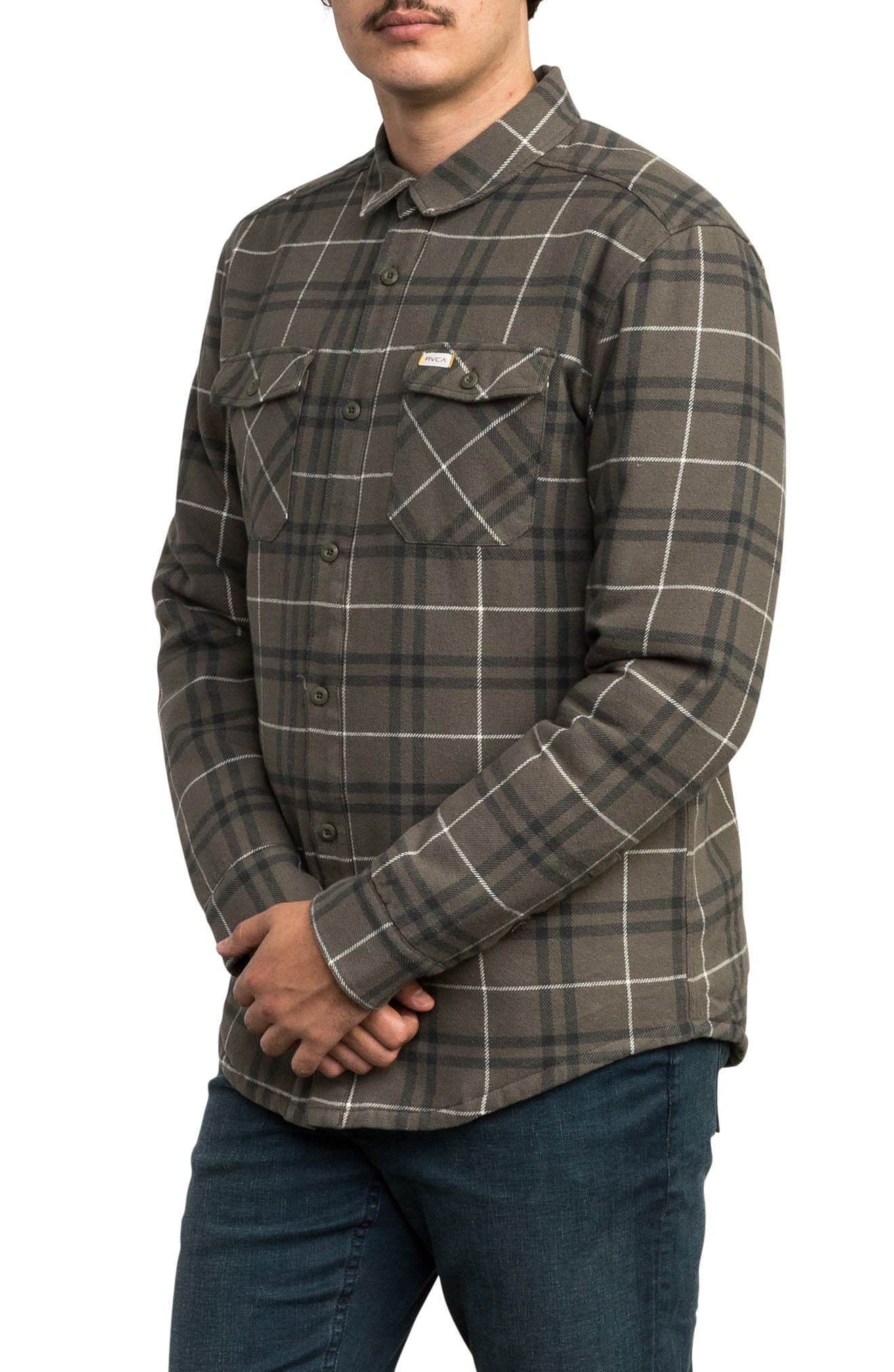 Andrew Reynolds Lined Plaid Shirt,                             Alternate thumbnail 3, color,                             OLIVE