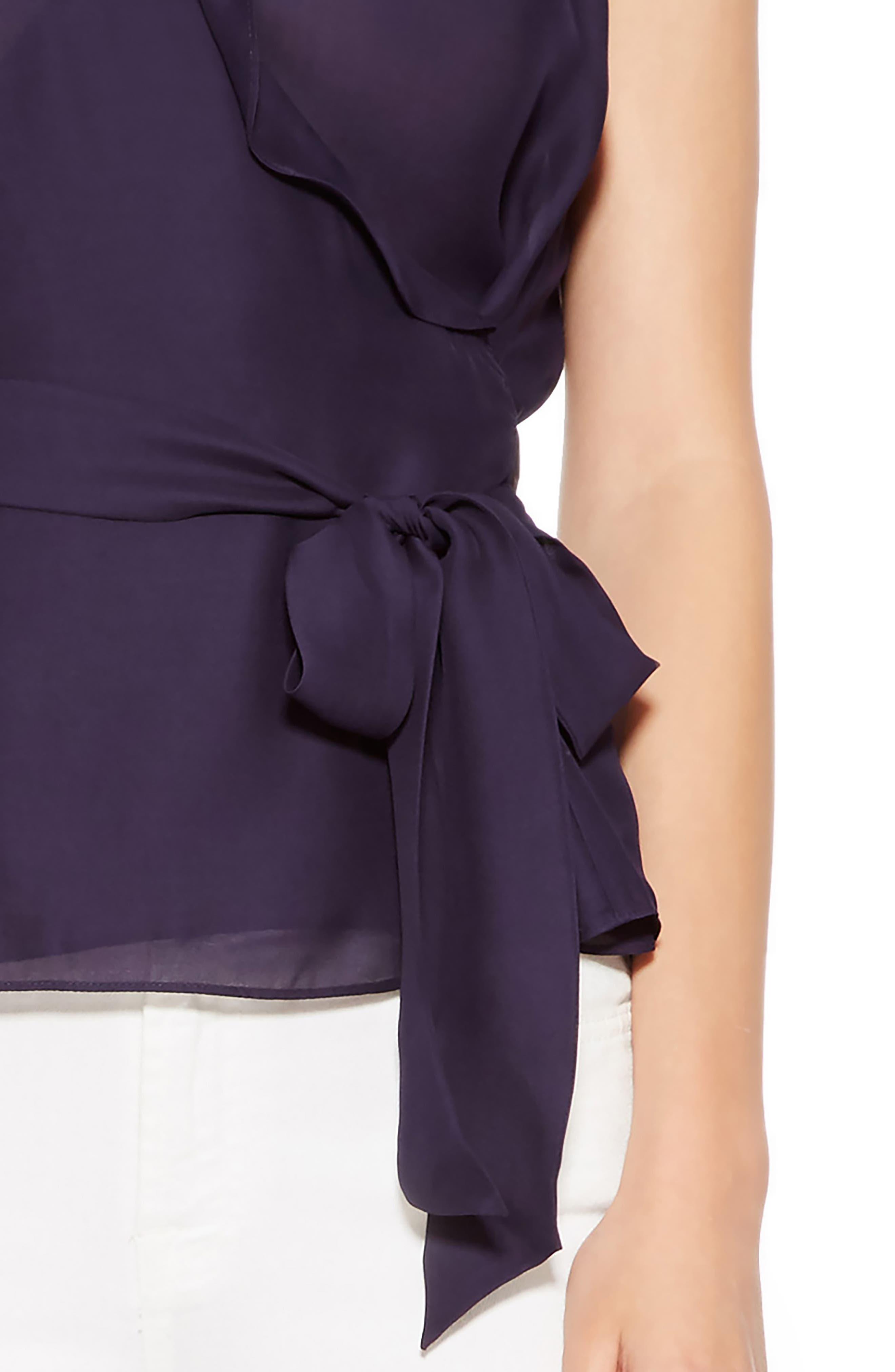 Miranda Sleeveless Silk Blend Top,                             Alternate thumbnail 4, color,                             493