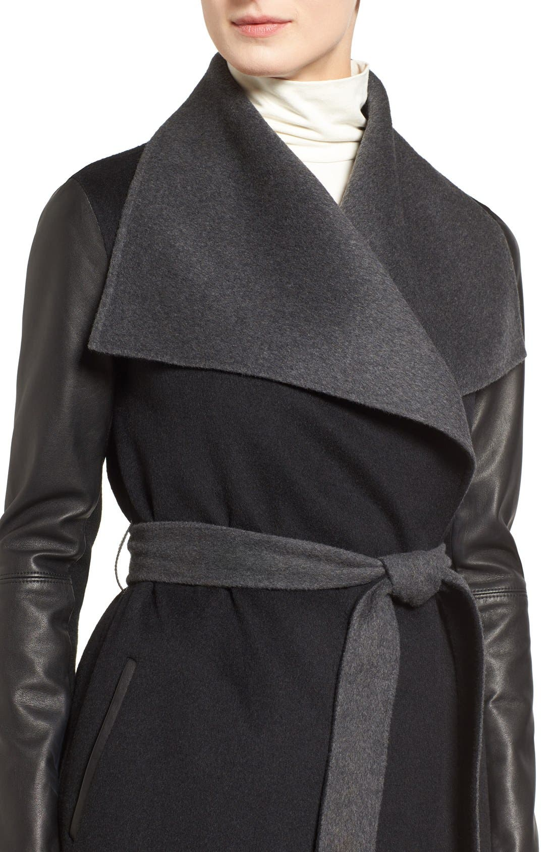 Leather Sleeve Wool Blend Wrap Coat,                             Alternate thumbnail 4, color,                             001