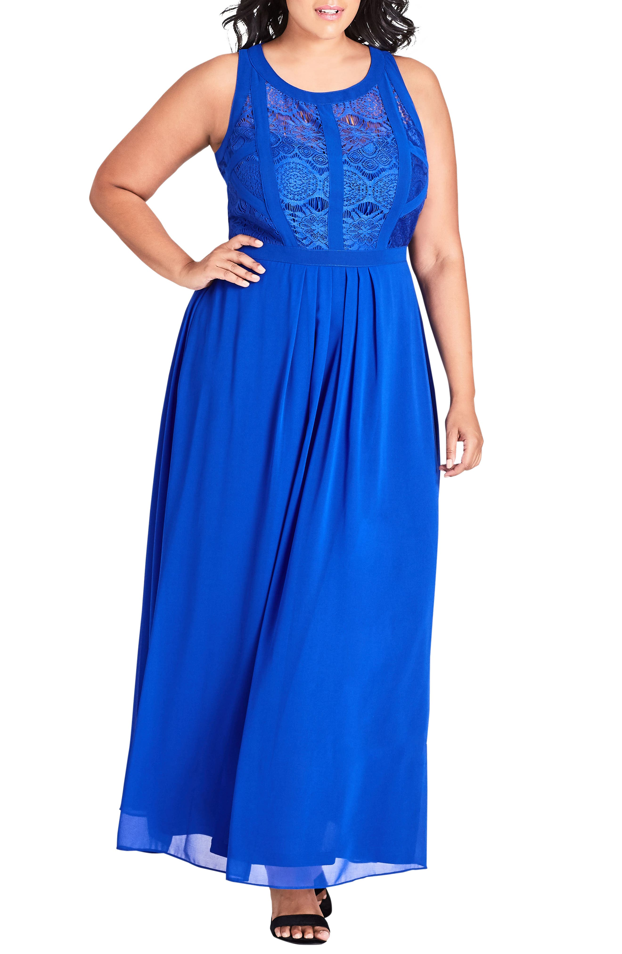 Paneled Lace Bodice Gown,                         Main,                         color, 422