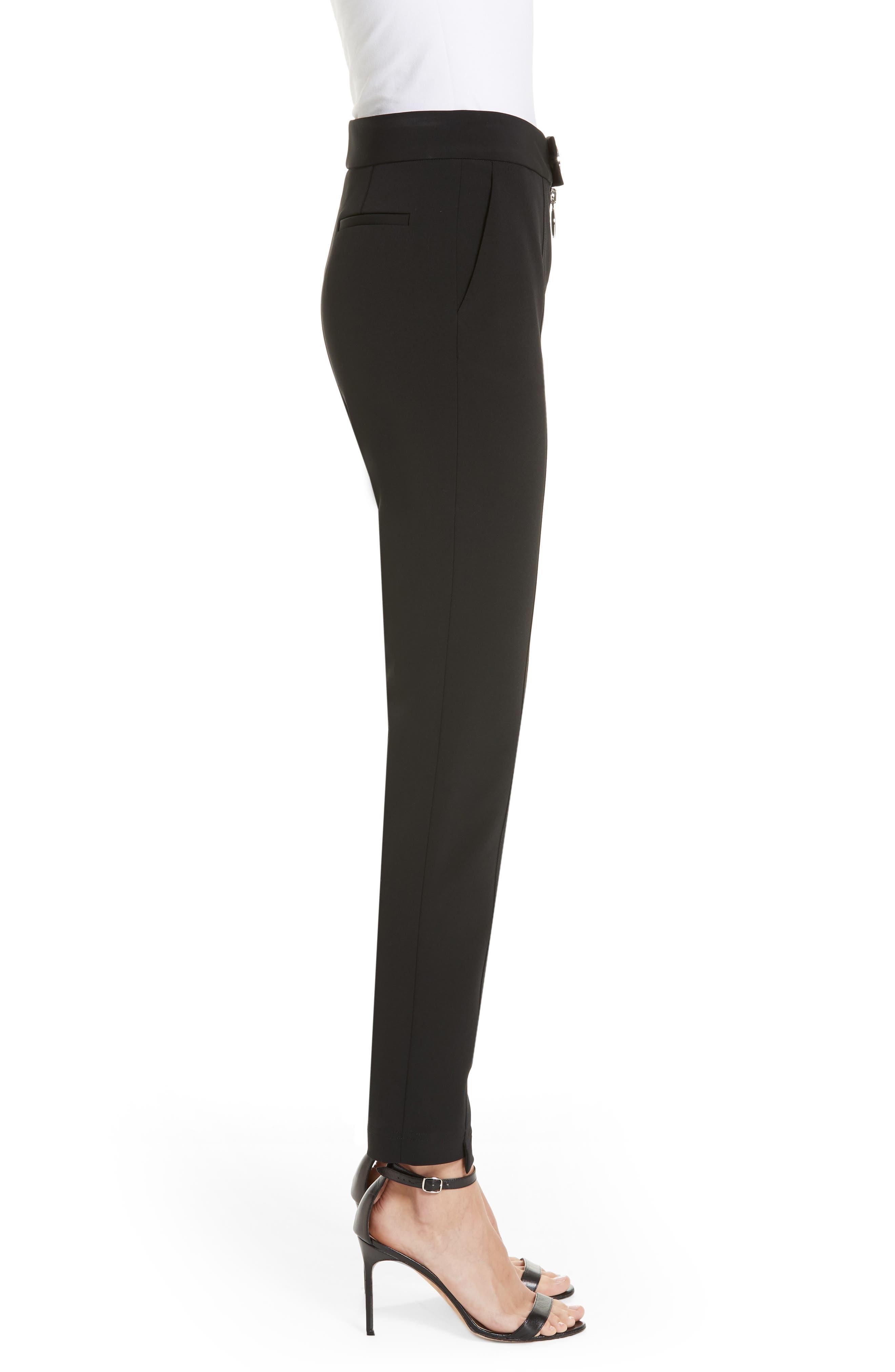 Straight Leg Trousers,                             Alternate thumbnail 3, color,                             BLACK