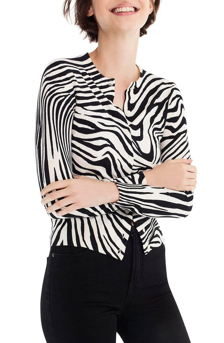Jackie Zebra Print Cardigan,                         Main,                         color, BLACK CHAMPAGNE