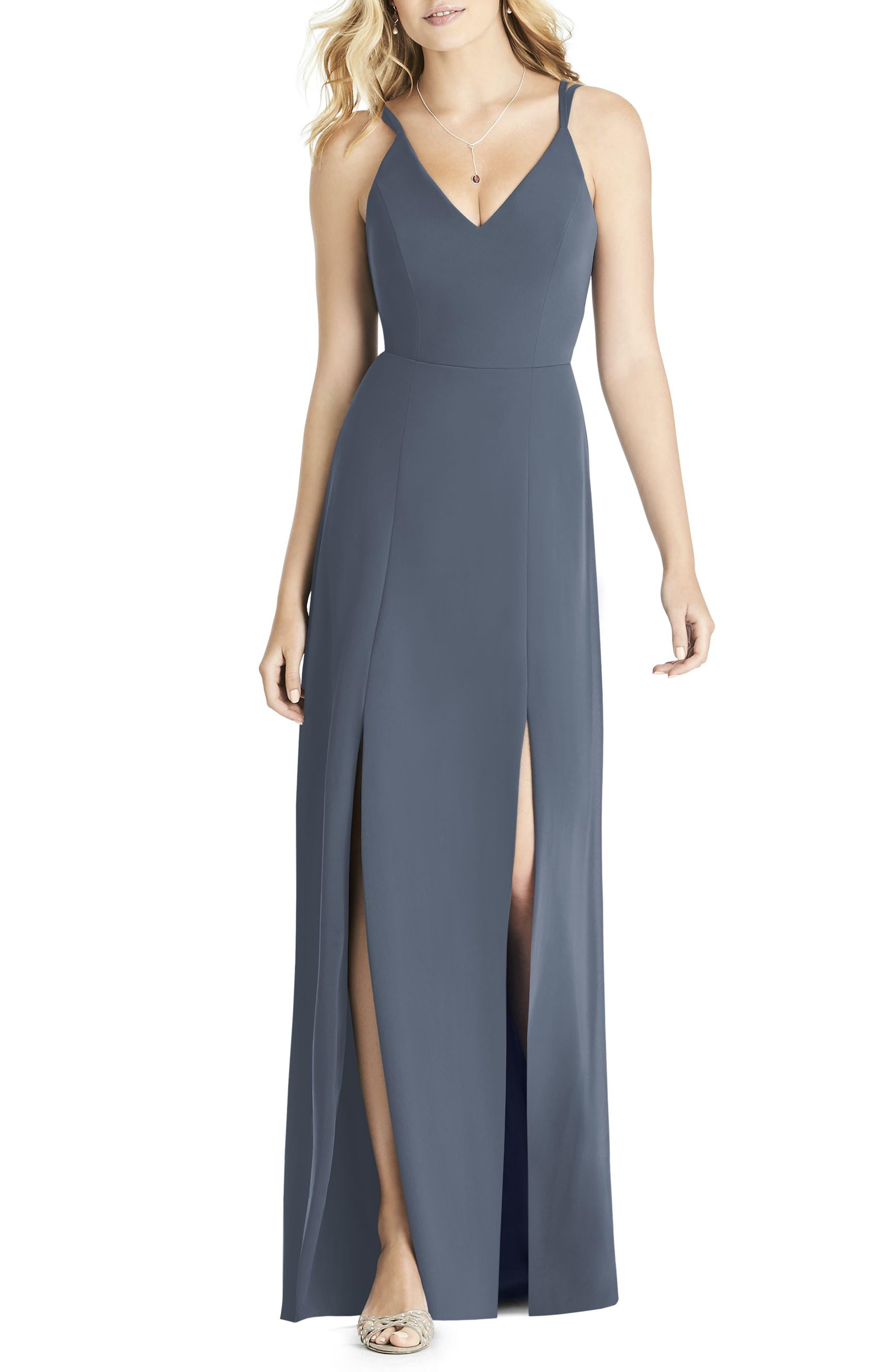 Social Bridesmaids Slit Matte Chiffon Gown, Grey