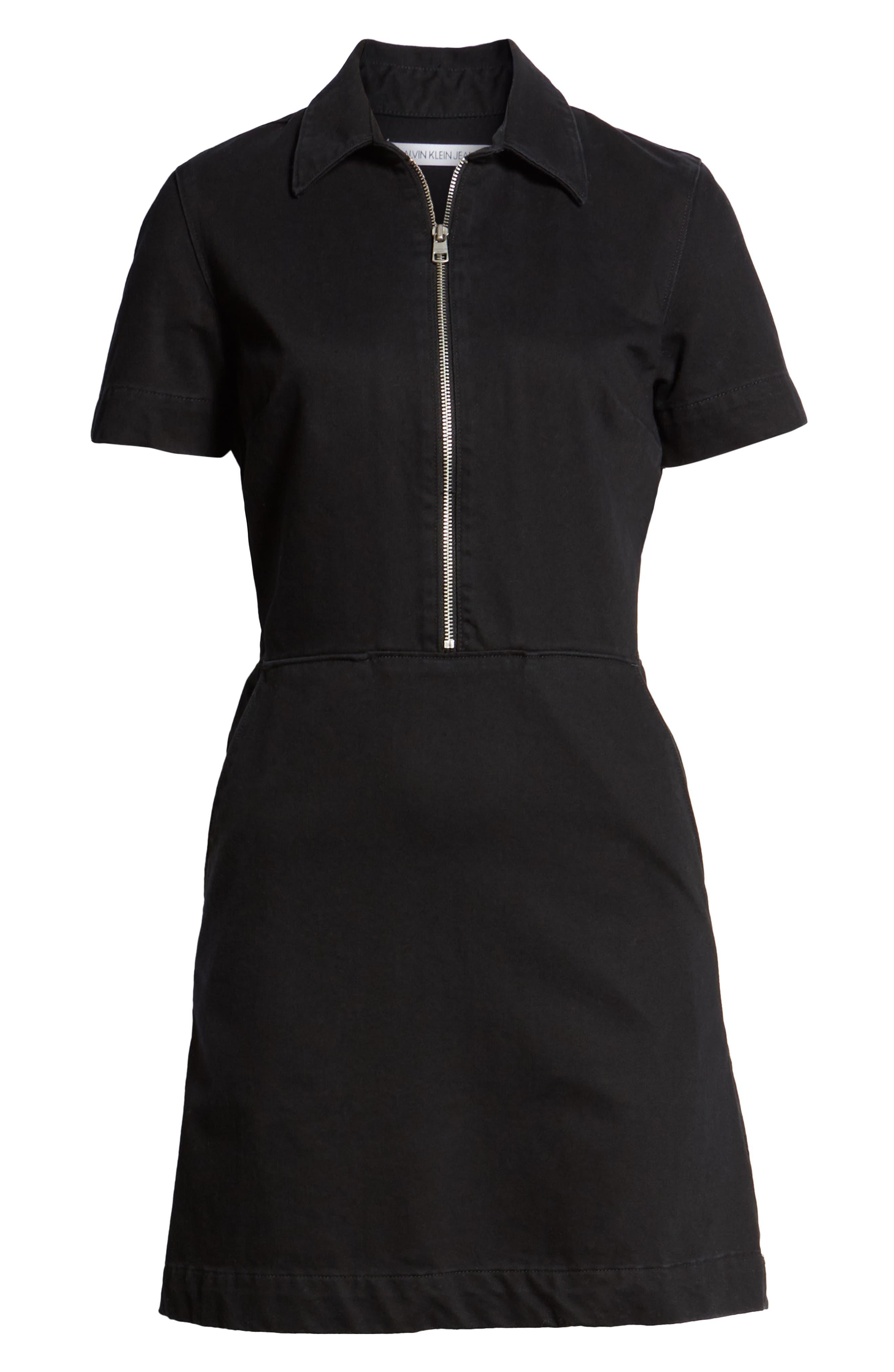 Zip Front Dress,                             Alternate thumbnail 7, color,                             BLACK STONE