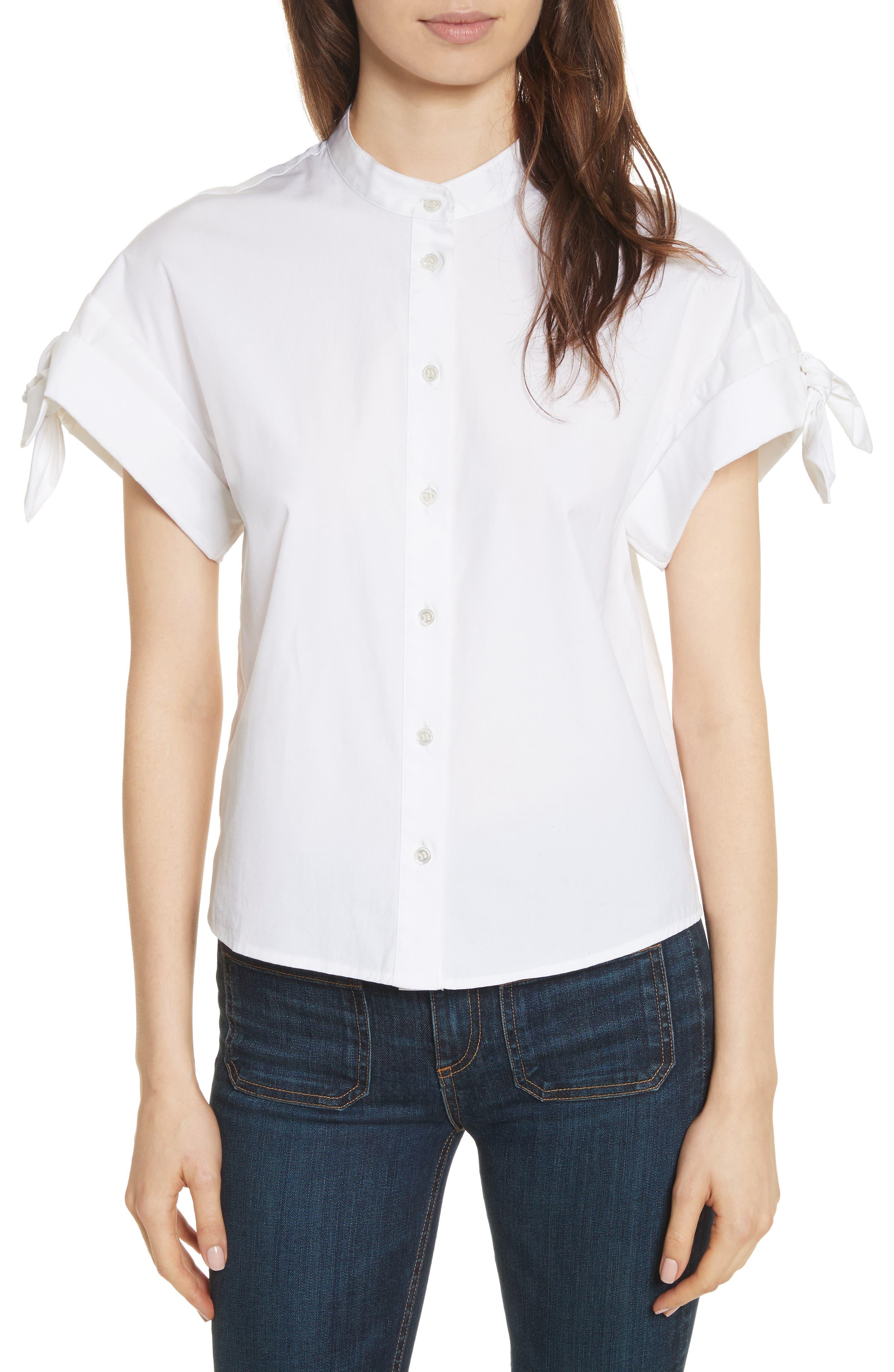 Sanaa Stretch Cotton Shirt,                         Main,                         color, 100