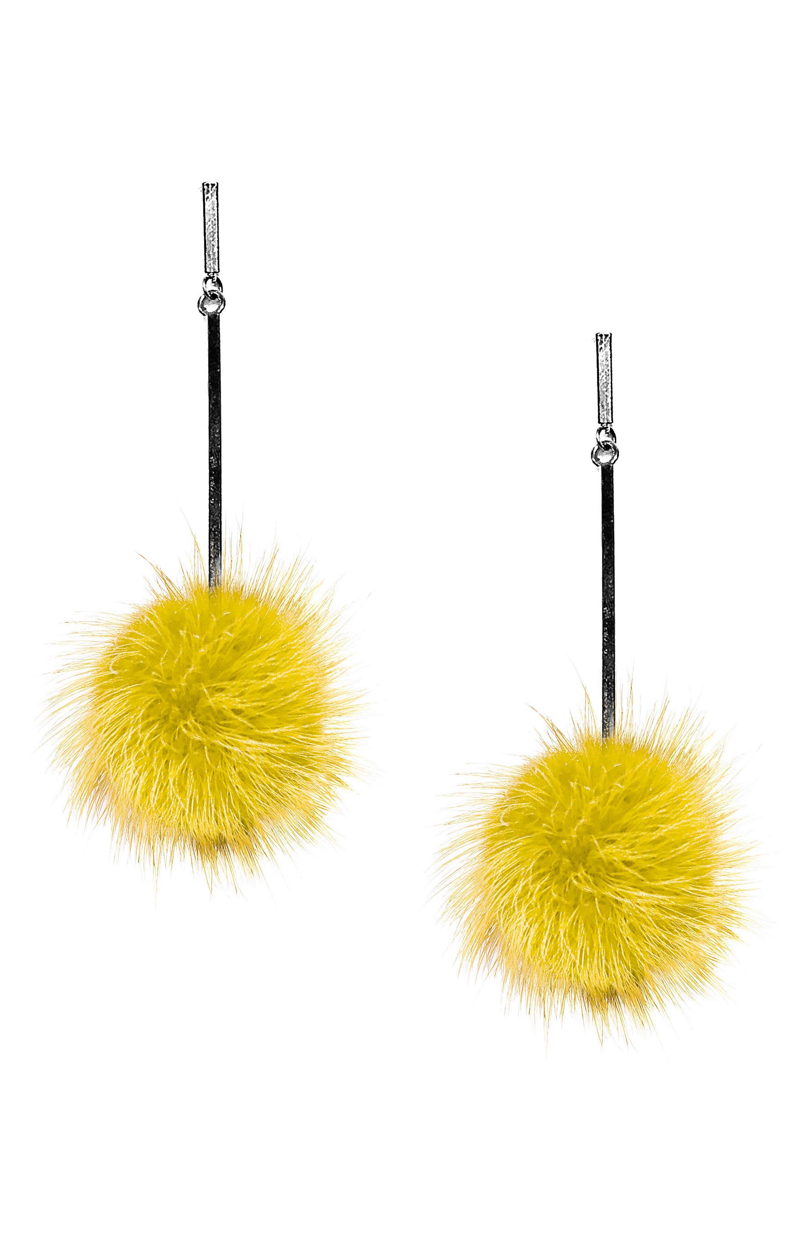Genuine Mink Fur Pompom Earrings,                         Main,                         color, 100