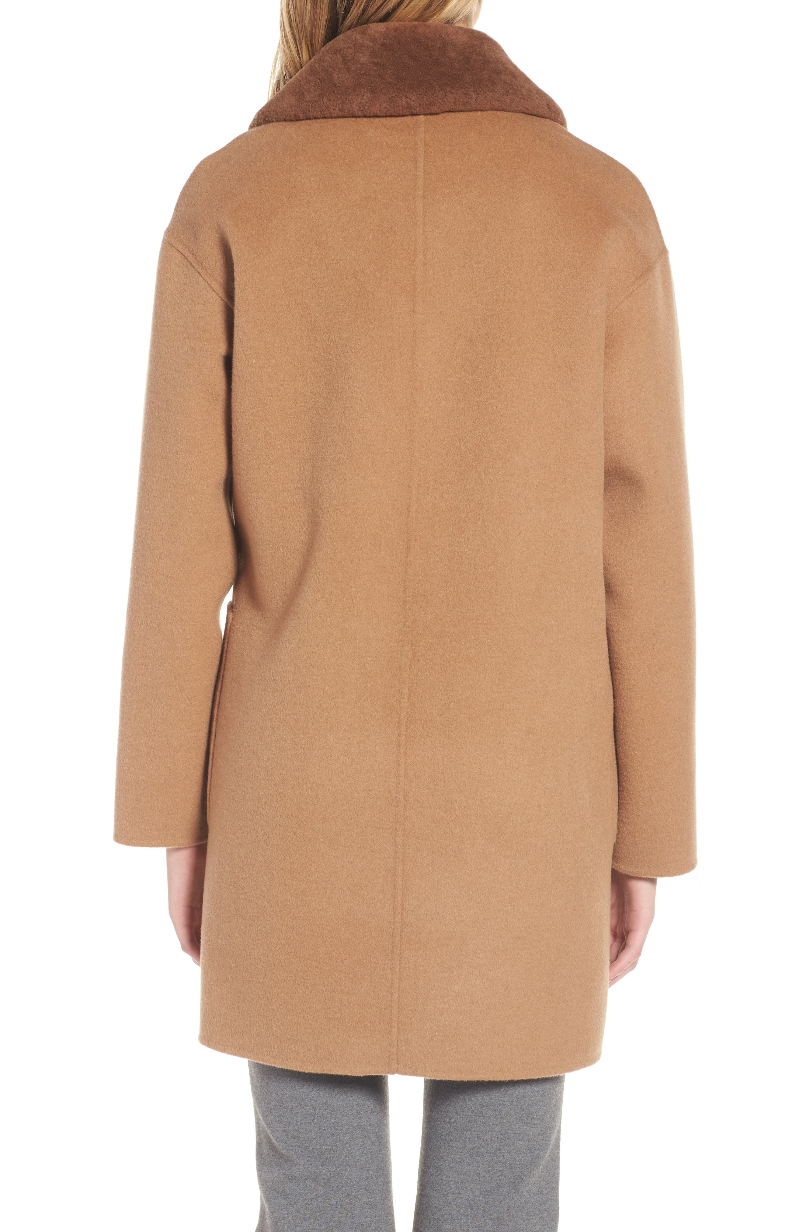 Dawn Genuine Shearling Collar Double Face Coat,                             Alternate thumbnail 4, color,