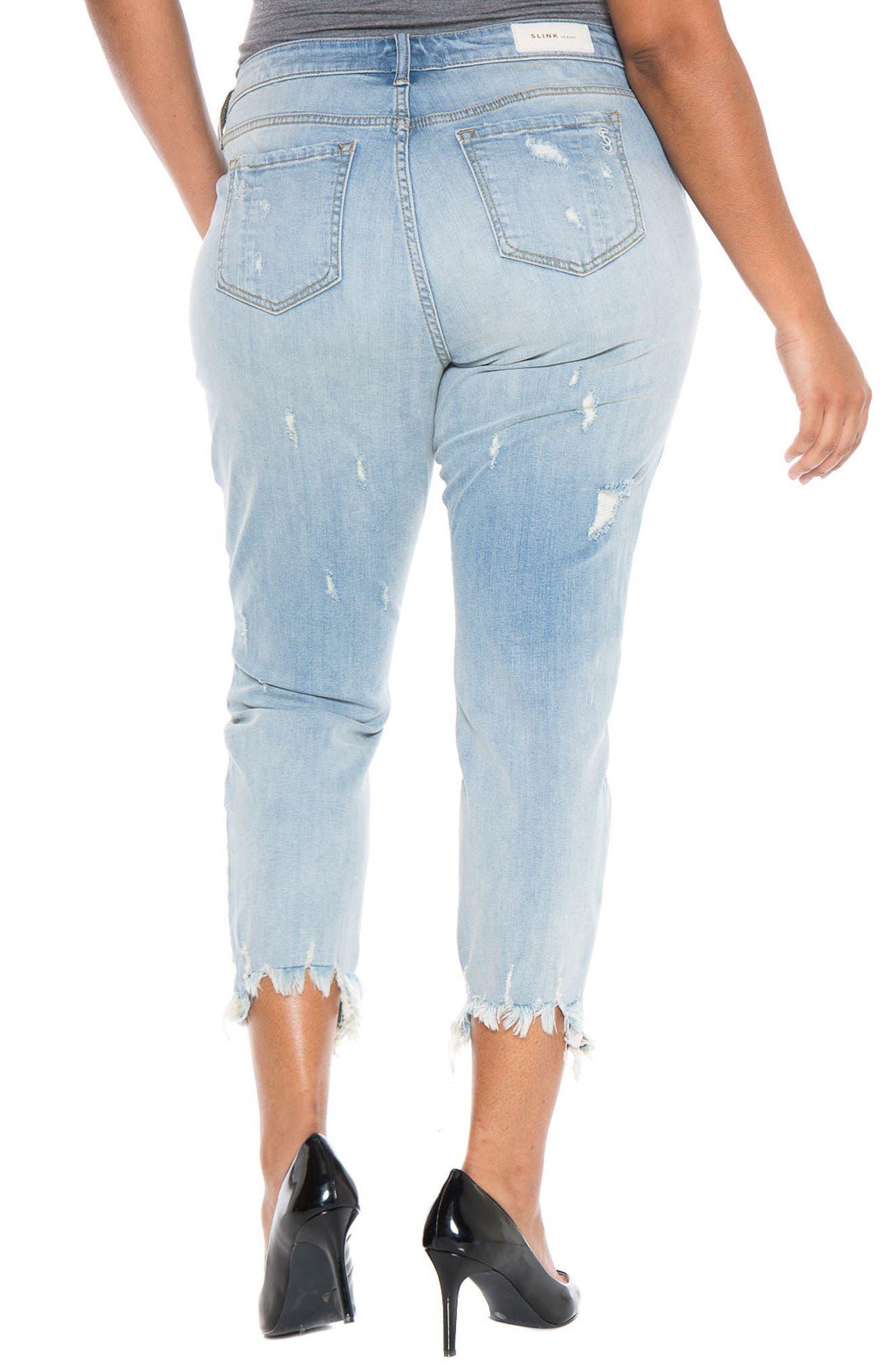 Frayed Hem Ripped Boyfriend Jeans,                             Alternate thumbnail 2, color,                             455