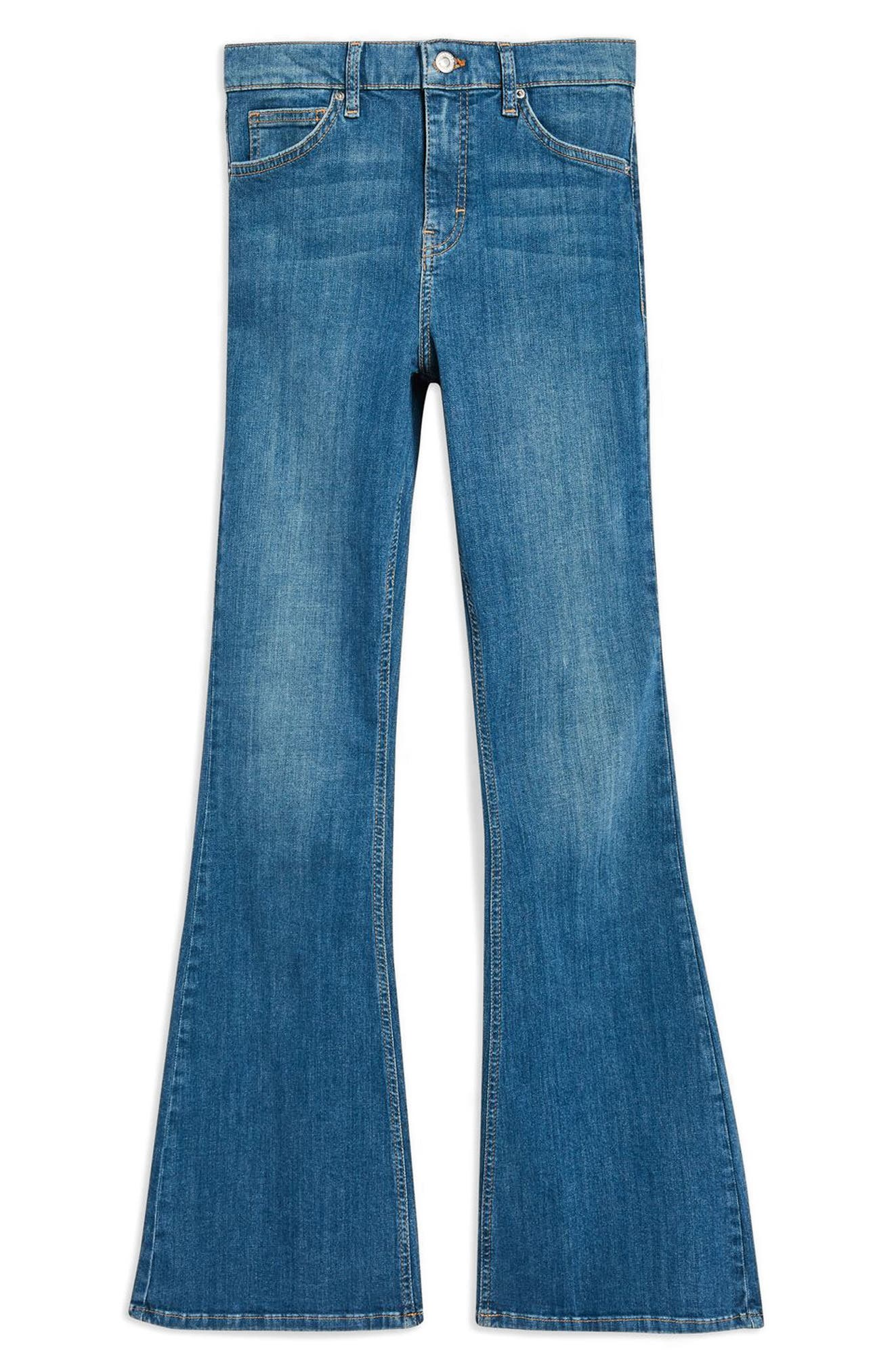 TOPSHOP,                             Jamie Flare Jeans,                             Alternate thumbnail 3, color,                             310