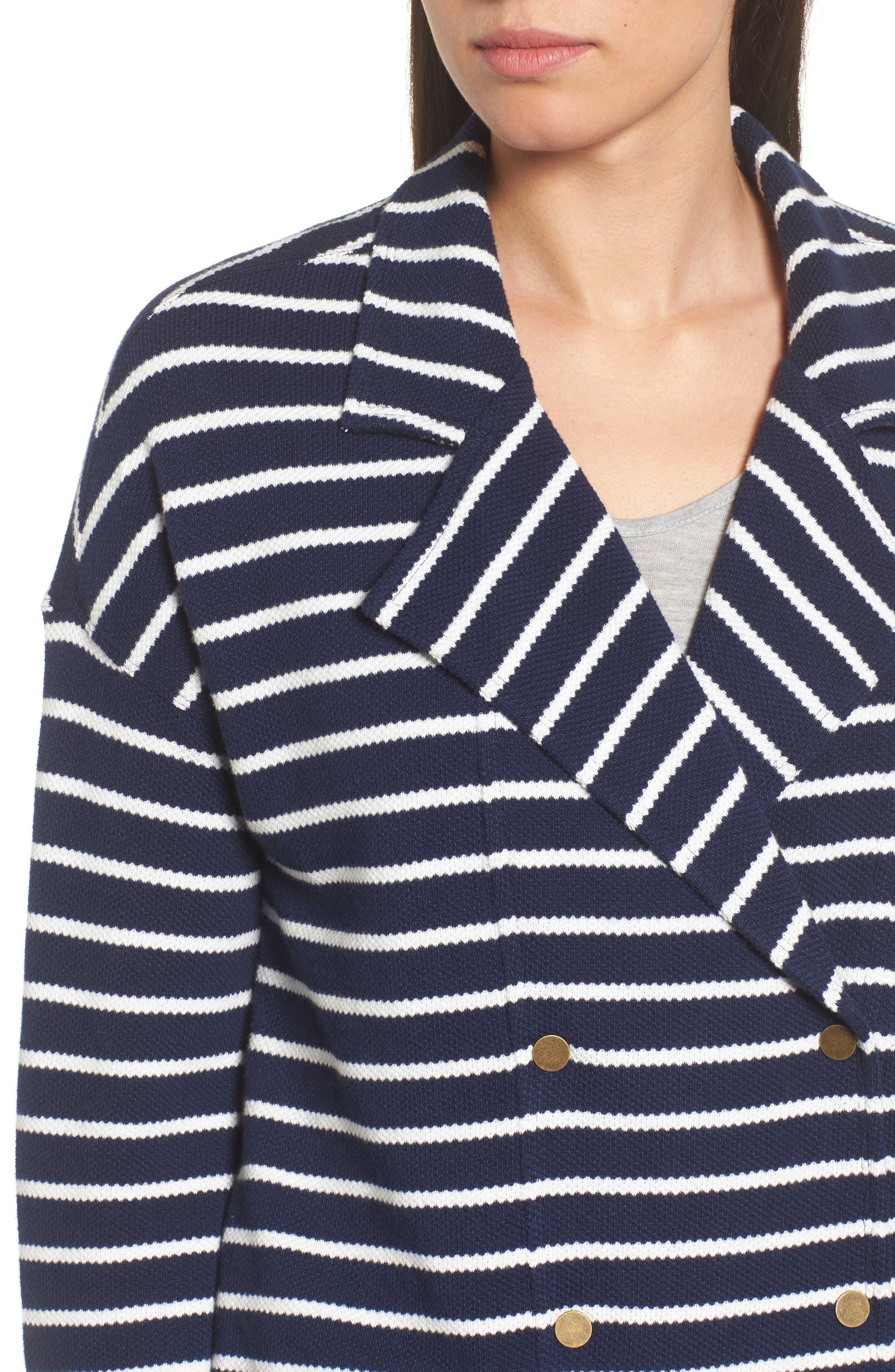 Stripe Knit Drawsting Jacket,                             Alternate thumbnail 4, color,                             410
