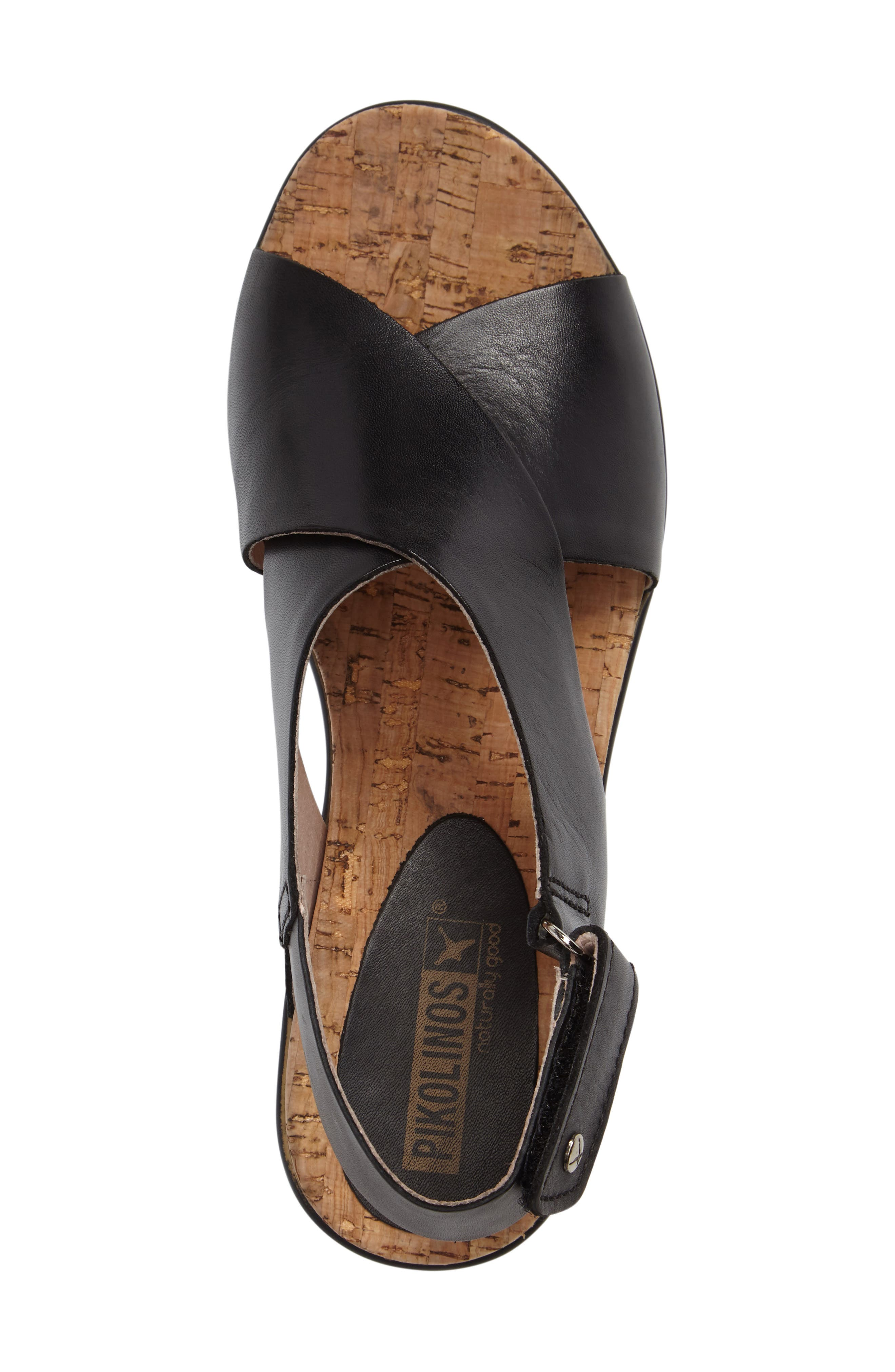 'Mykonos' Platform Sandal,                             Alternate thumbnail 3, color,                             BLACK/ BLACK LEATHER
