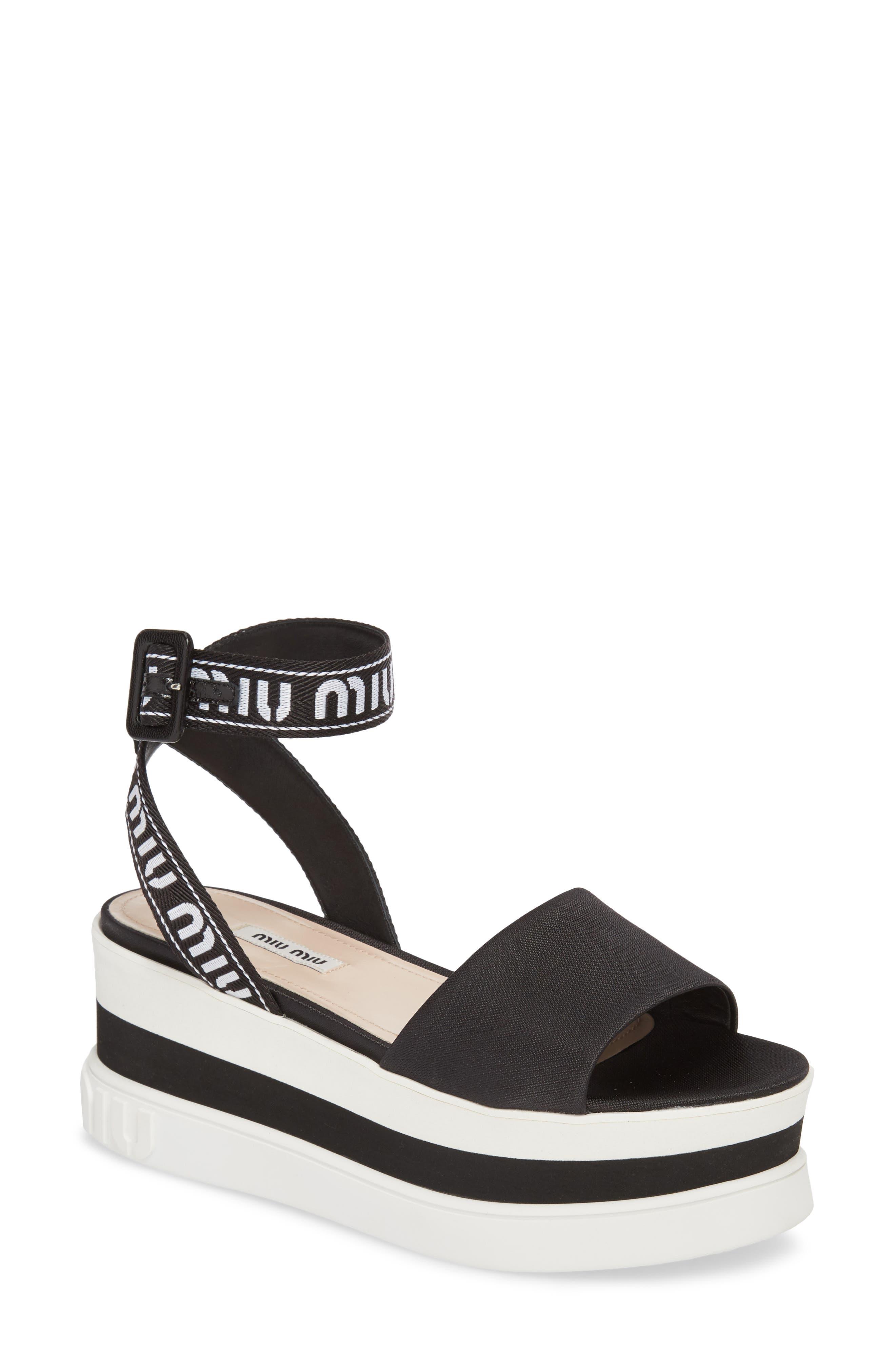 MIU MIU,                             Flatform Logo Sandal,                             Main thumbnail 1, color,                             BLACK