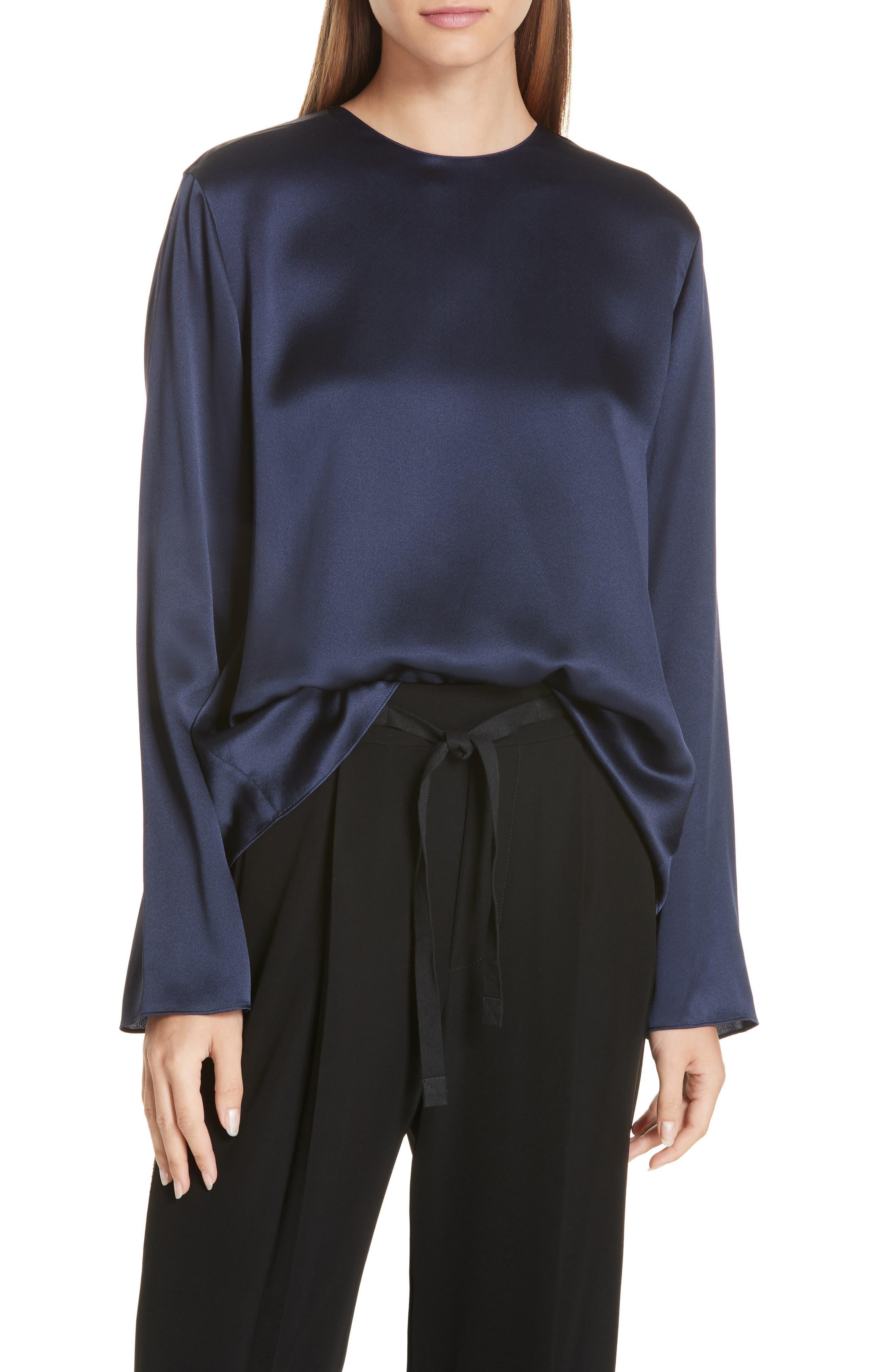 Tie Back Silk Blouse,                         Main,                         color, MARINE