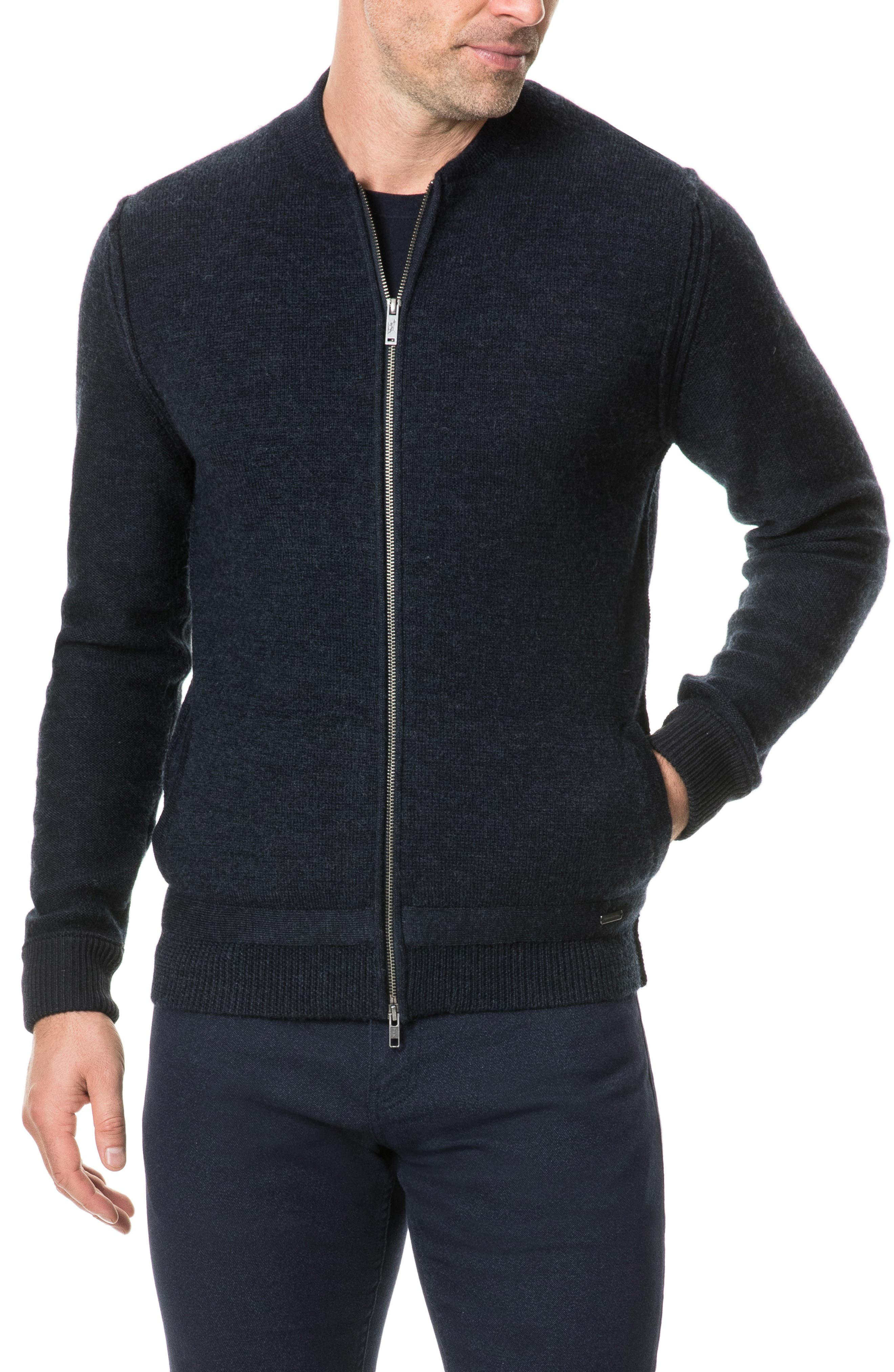 Fairton Regular Fit Wool Zip Front Sweater,                             Main thumbnail 1, color,                             NAVY