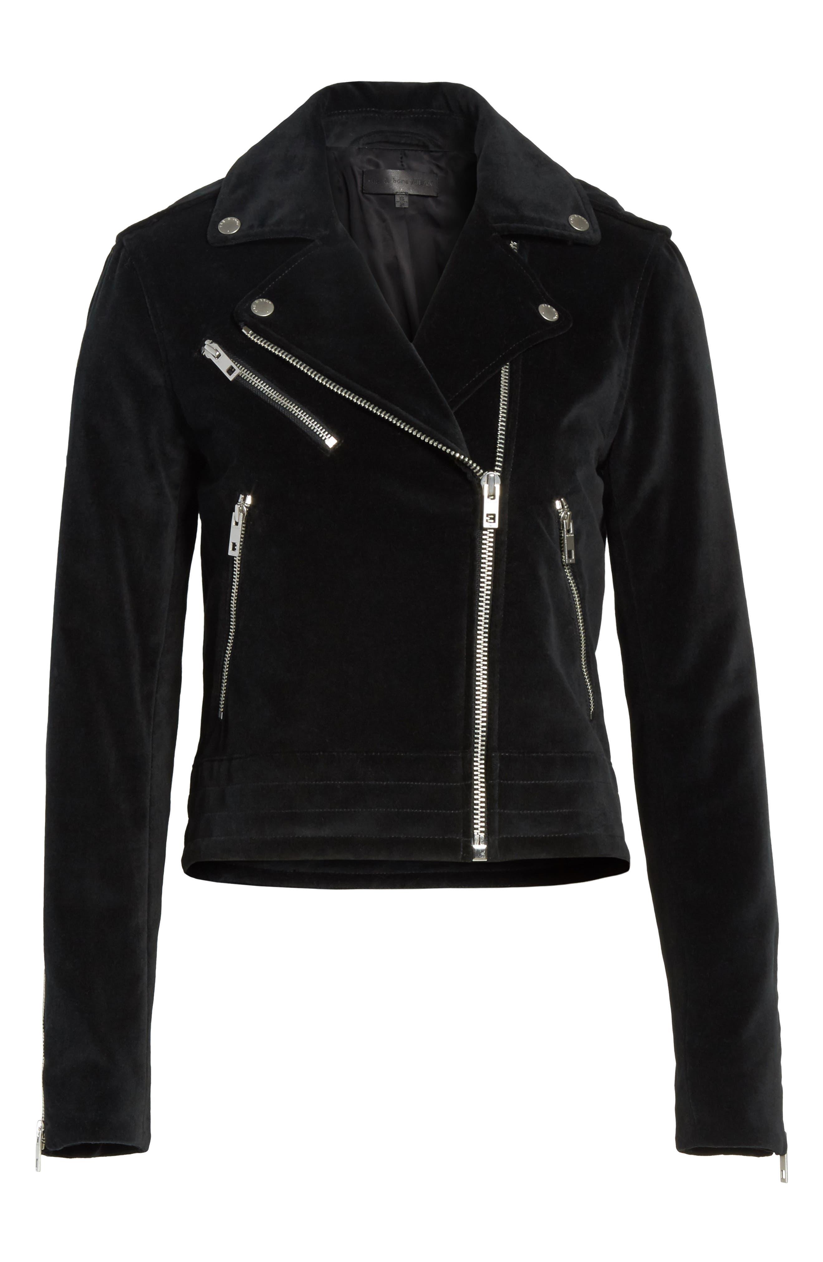 Mercer Velvet Moto Jacket,                             Alternate thumbnail 5, color,                             001