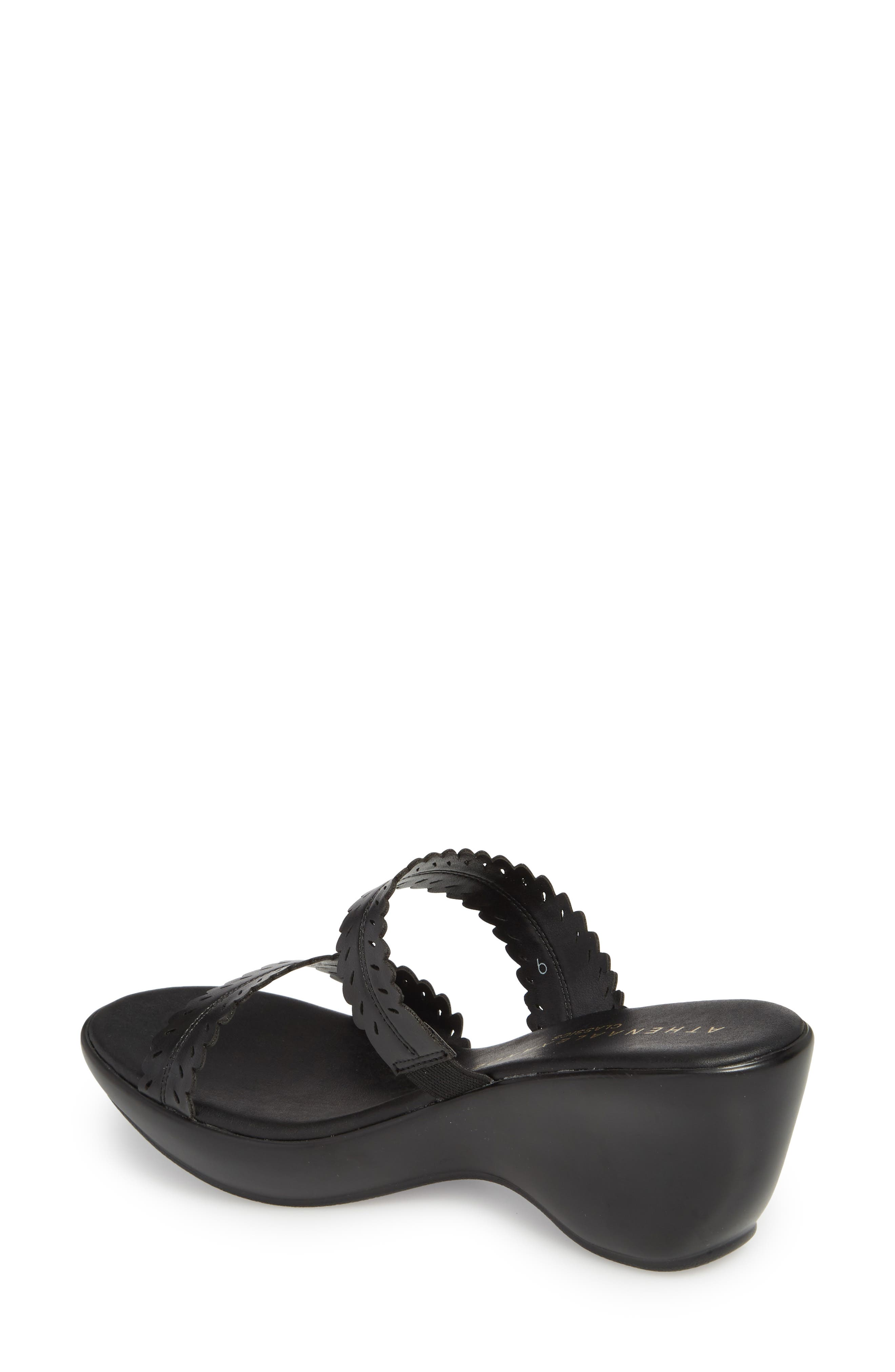 Pouty Wedge Sandal,                             Alternate thumbnail 2, color,                             BLACK FABRIC