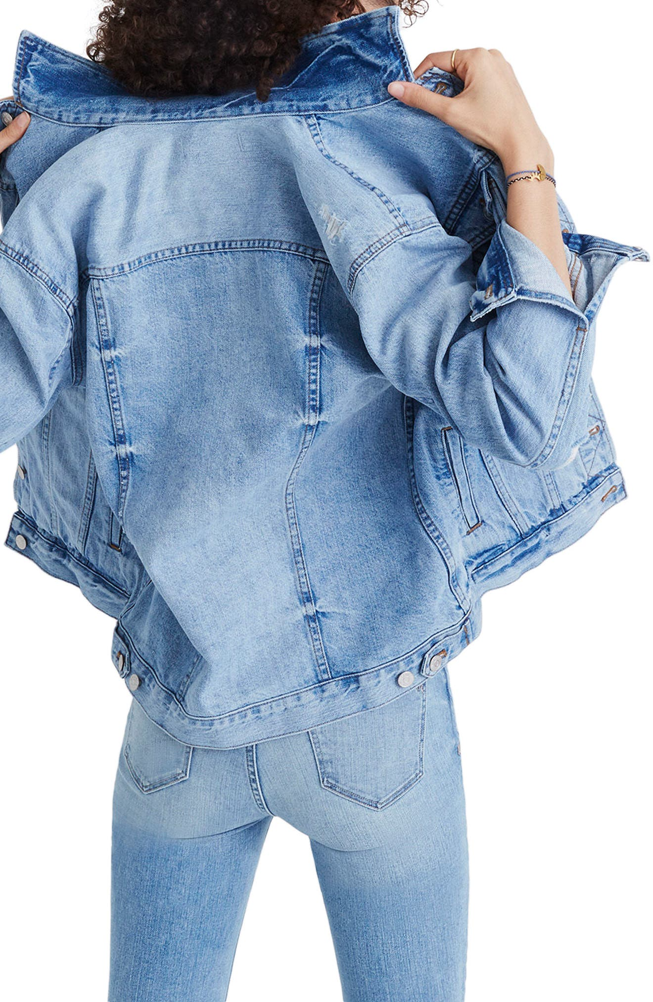 Distressed Oversize Jean Jacket,                             Alternate thumbnail 2, color,                             JUNCTION WASH