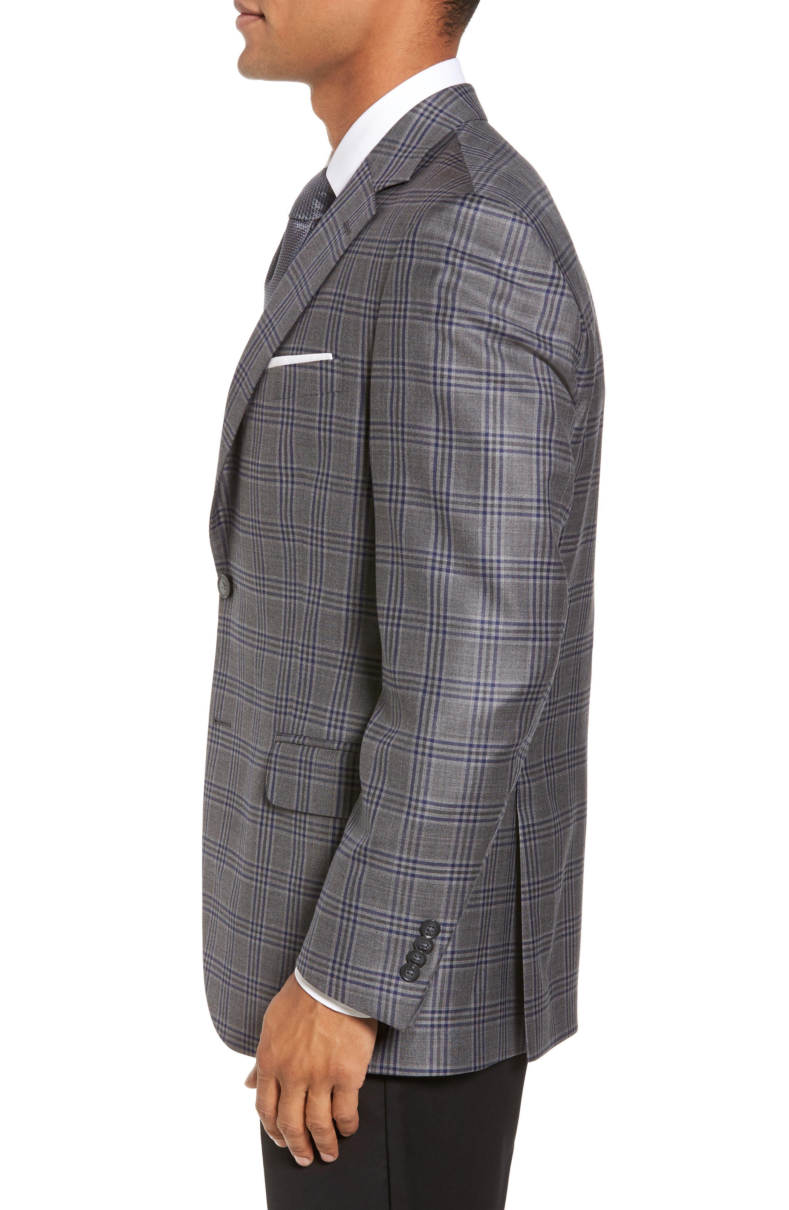 Classic Fit Plaid Wool Sport Coat,                             Alternate thumbnail 3, color,