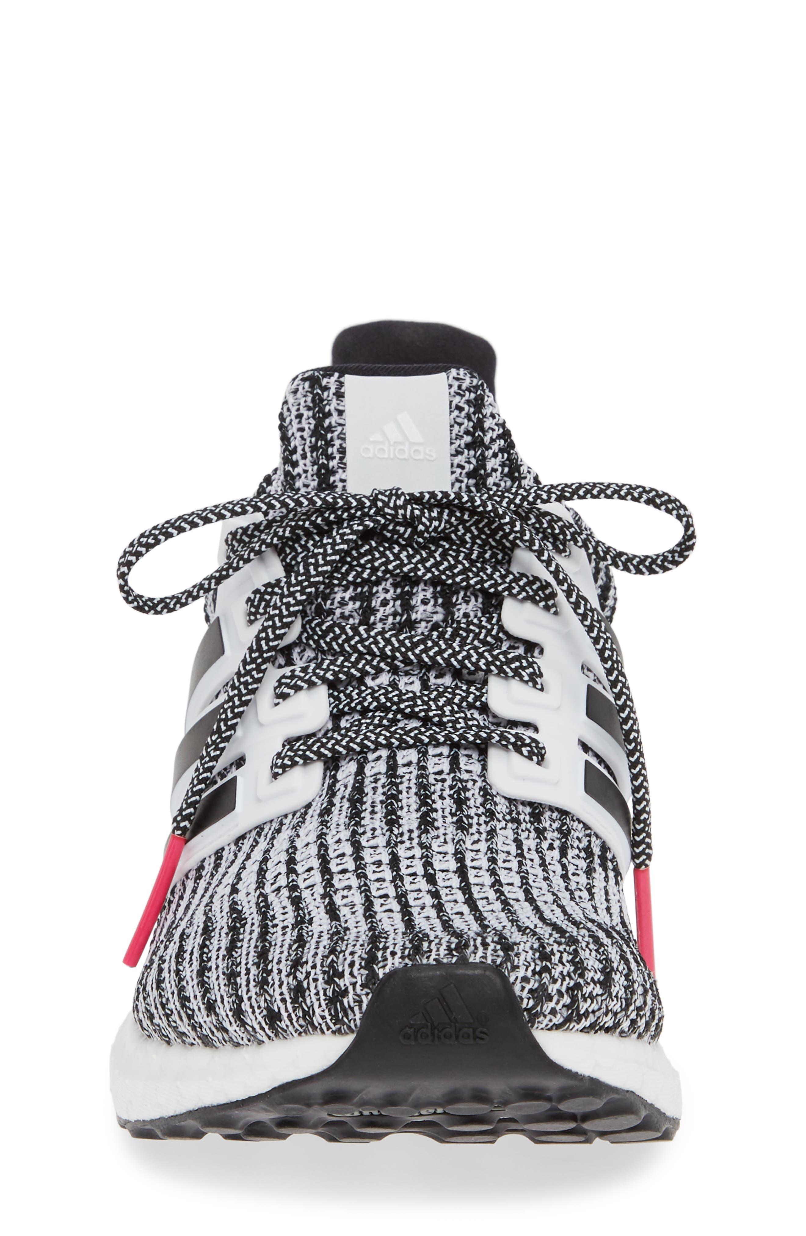 UltraBoost Sneaker,                             Alternate thumbnail 4, color,                             WHITE/ BLACK/ SHOCK PINK