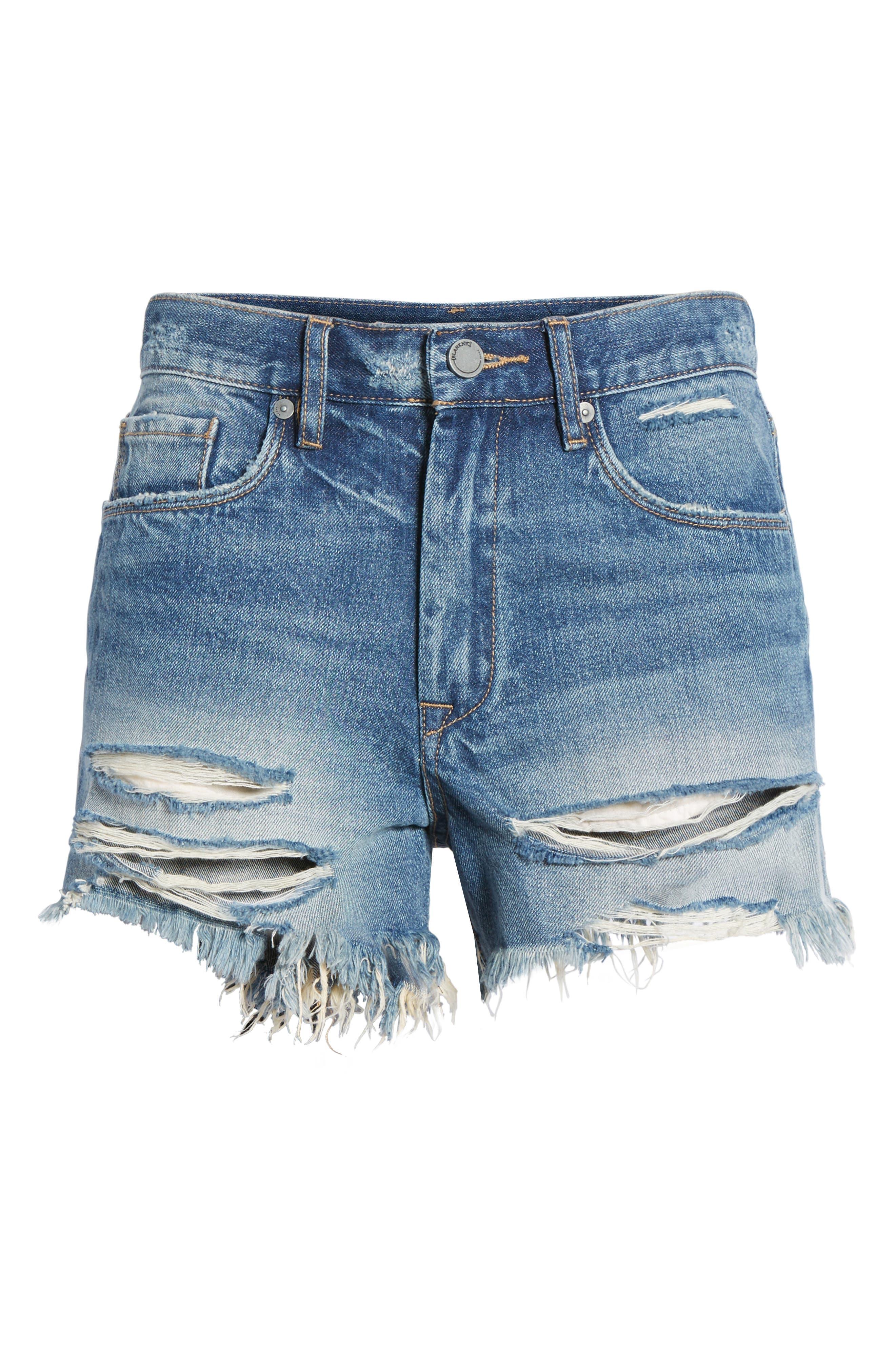 Pin-Up Distressed Denim Shorts,                             Alternate thumbnail 6, color,                             400