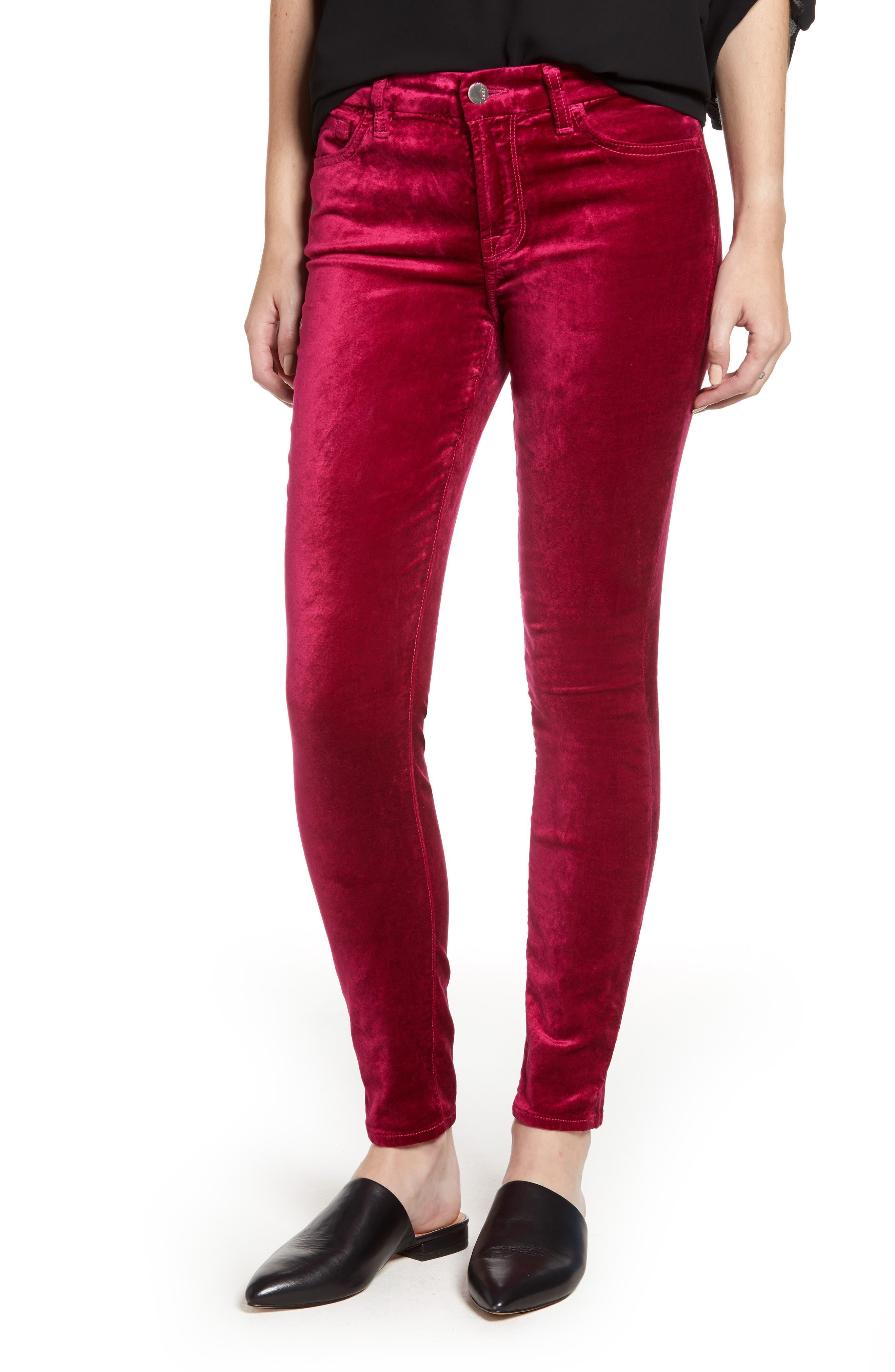 JEN7 BY 7 FOR ALL MANKIND Velvet Ankle Skinny High Waist Pants in Fuchsia
