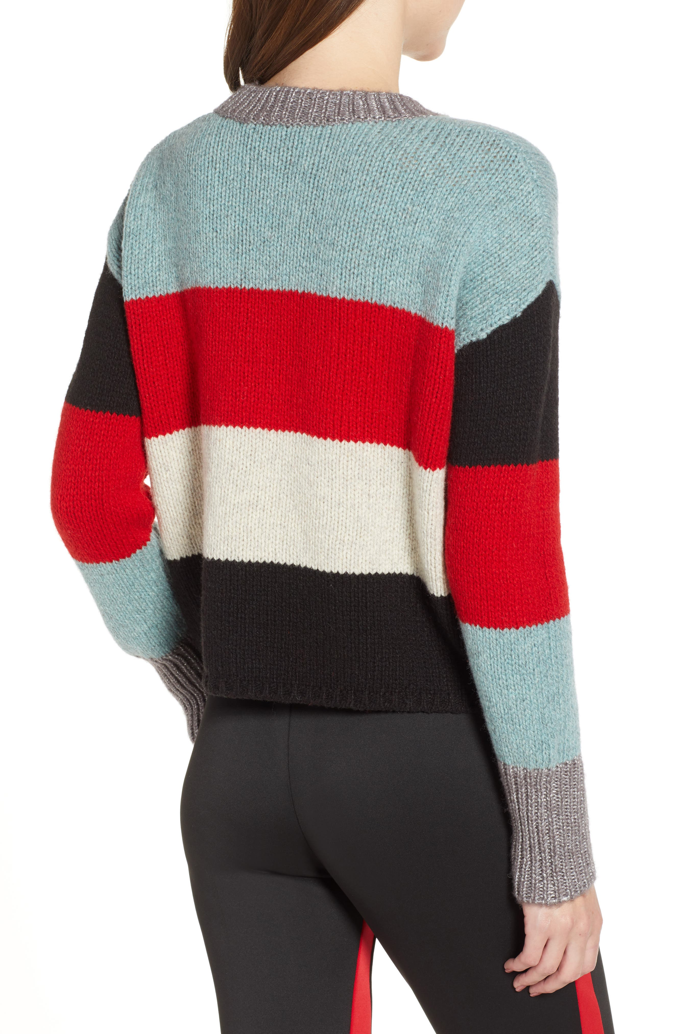 Stripe Crop Sweater,                             Alternate thumbnail 2, color,                             MULTICOLOR