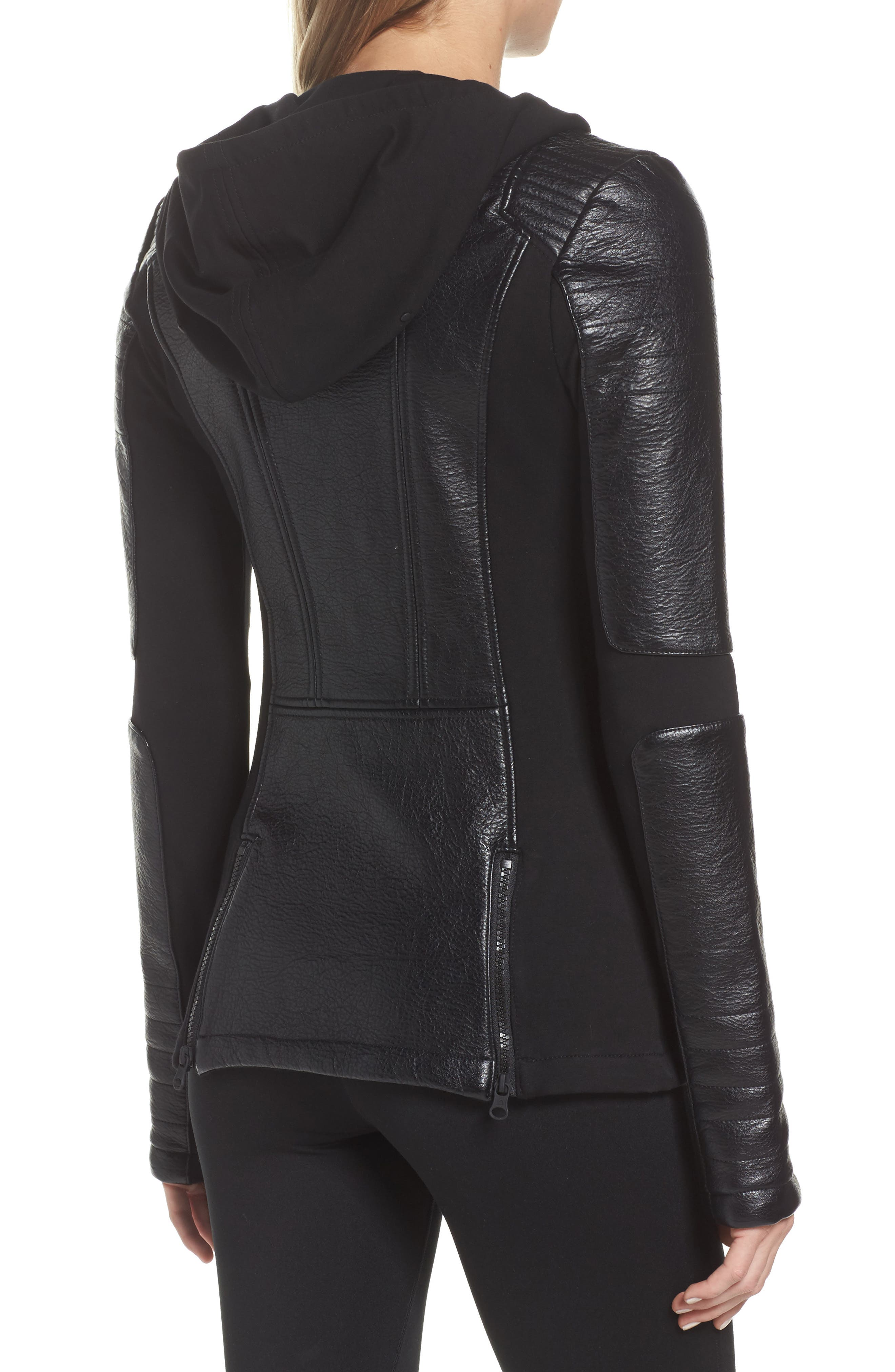 Faux Leather Hooded Moto Jacket,                             Alternate thumbnail 2, color,                             BLACK