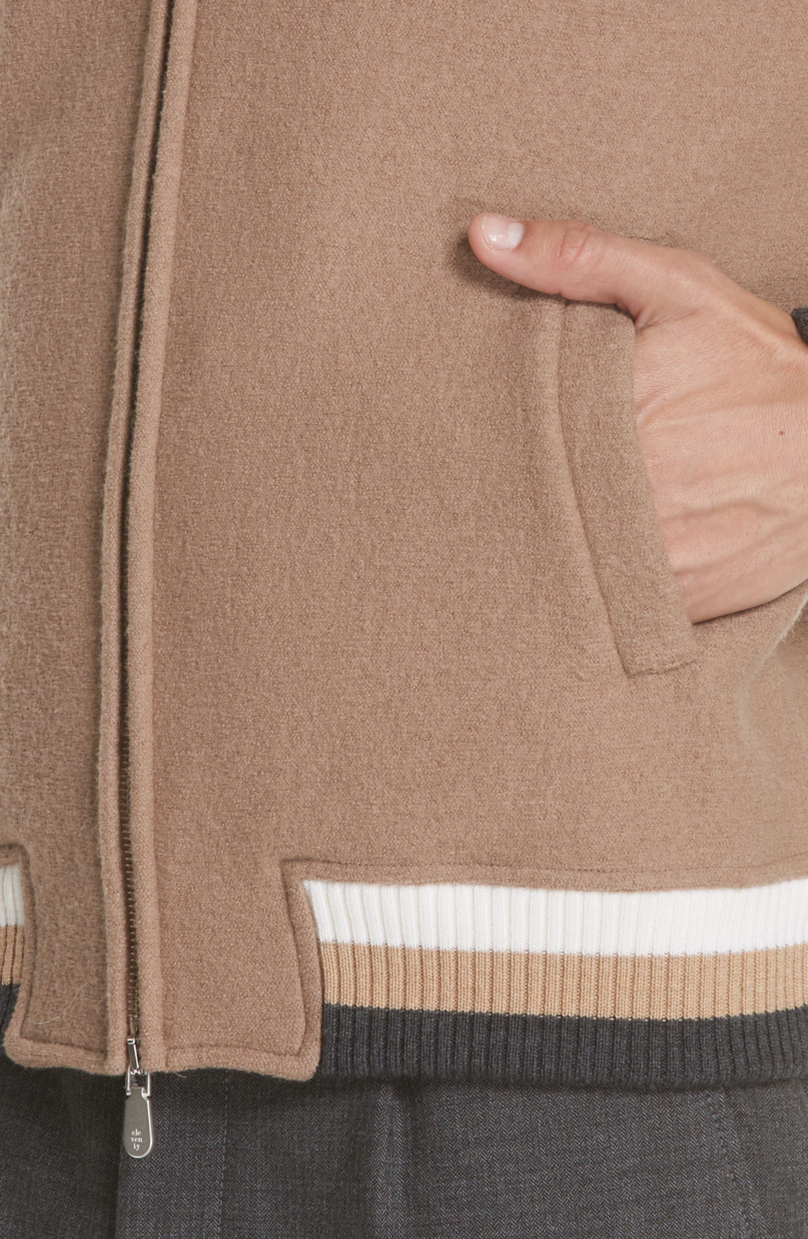 Wool Bomber Jacket,                             Alternate thumbnail 4, color,                             CAMEL
