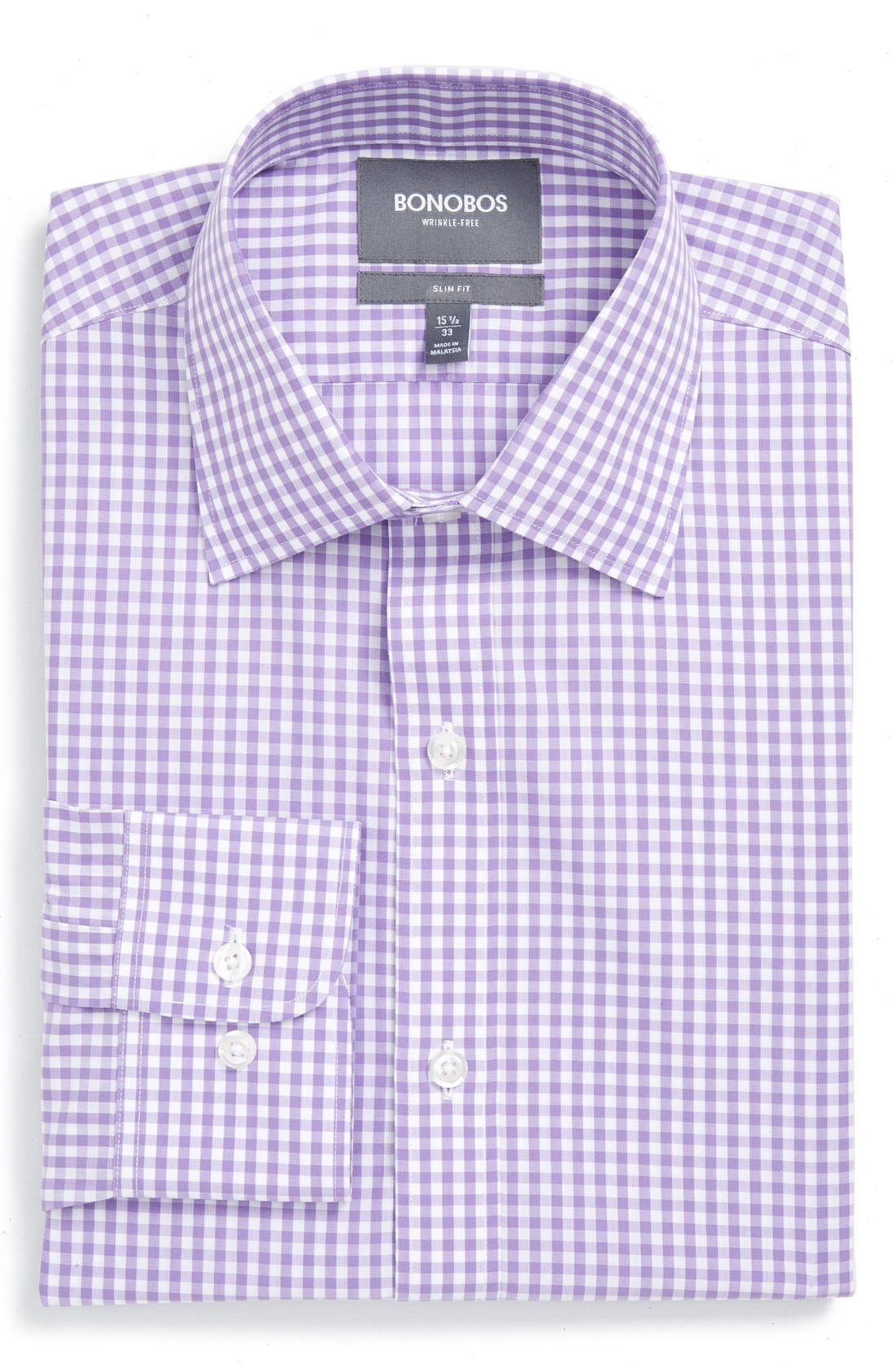 Slim Fit Wrinkle Free Check Dress Shirt,                         Main,                         color, LILAC