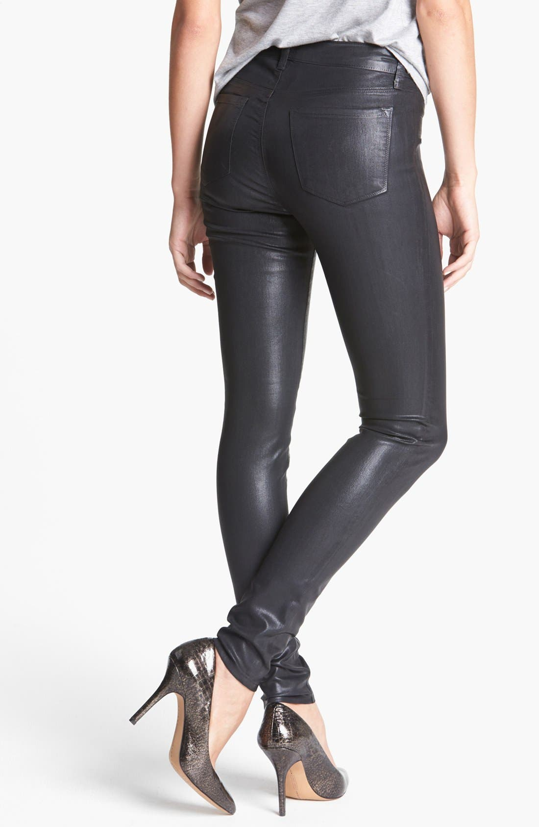 '815' Coated Skinny Pants,                             Alternate thumbnail 3, color,                             001