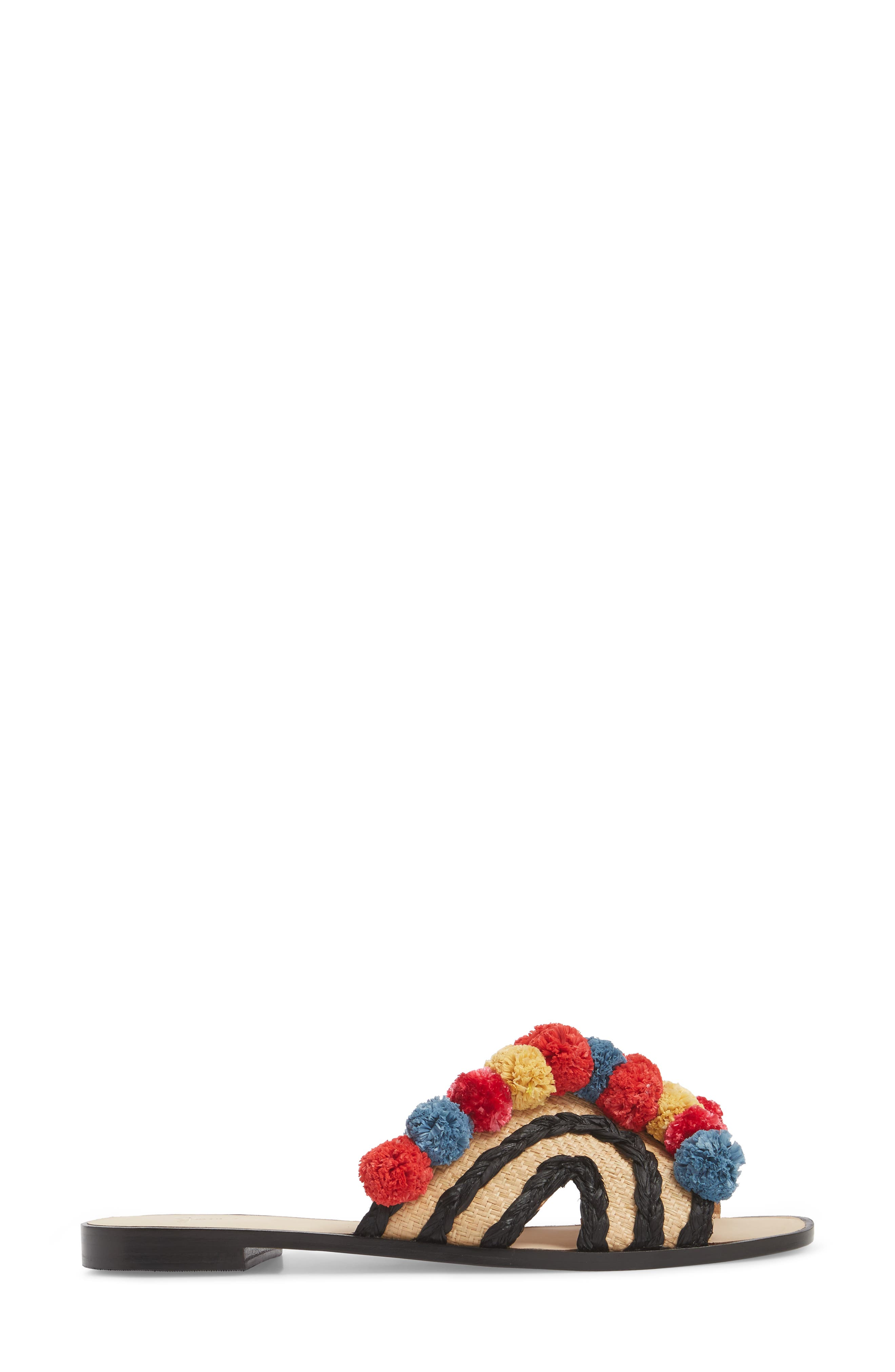 Paden Pompom Slide Sandals,                             Alternate thumbnail 3, color,                             002