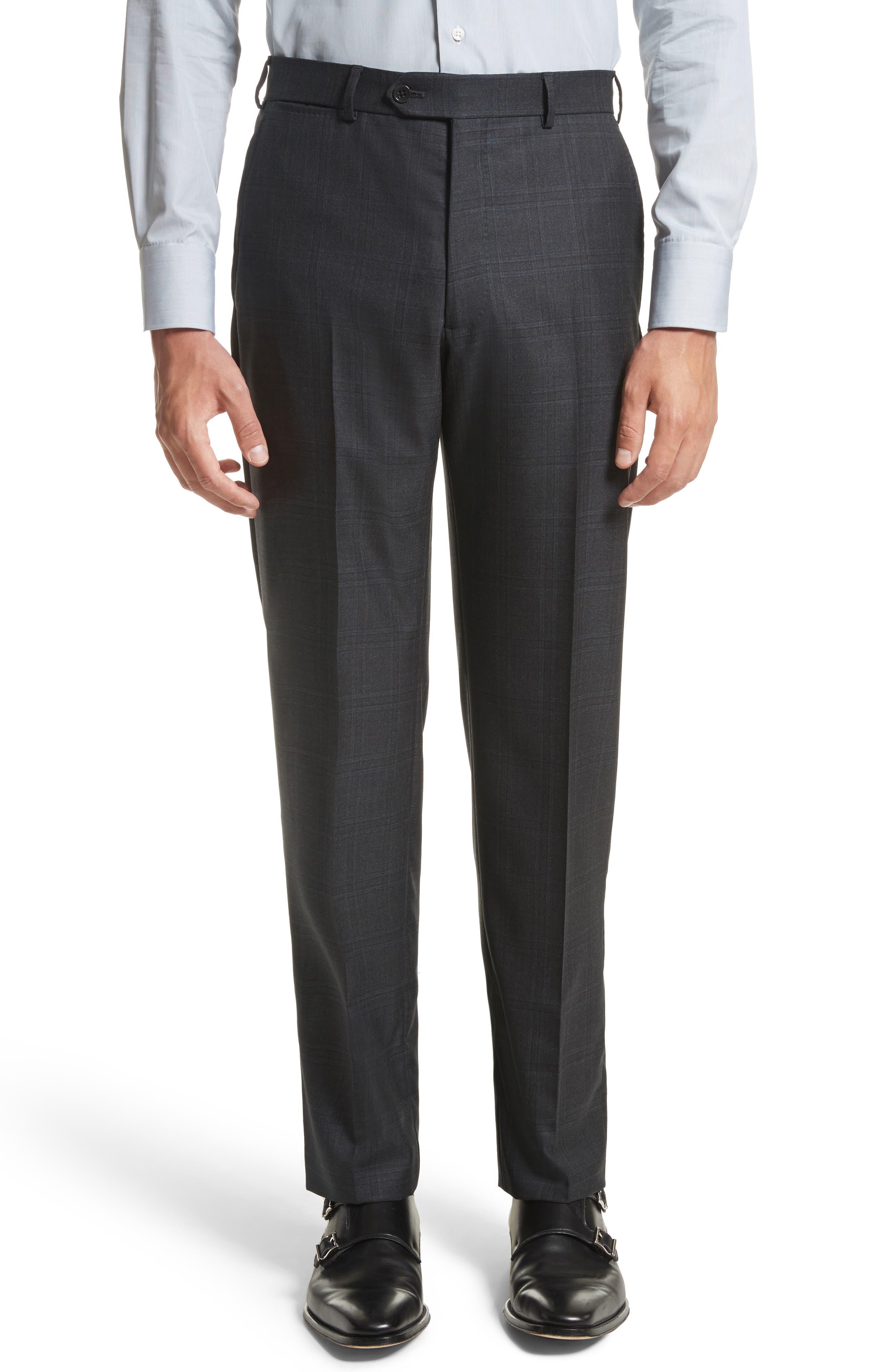 G-Line Trim Fit Plaid Wool Suit,                             Alternate thumbnail 6, color,                             017