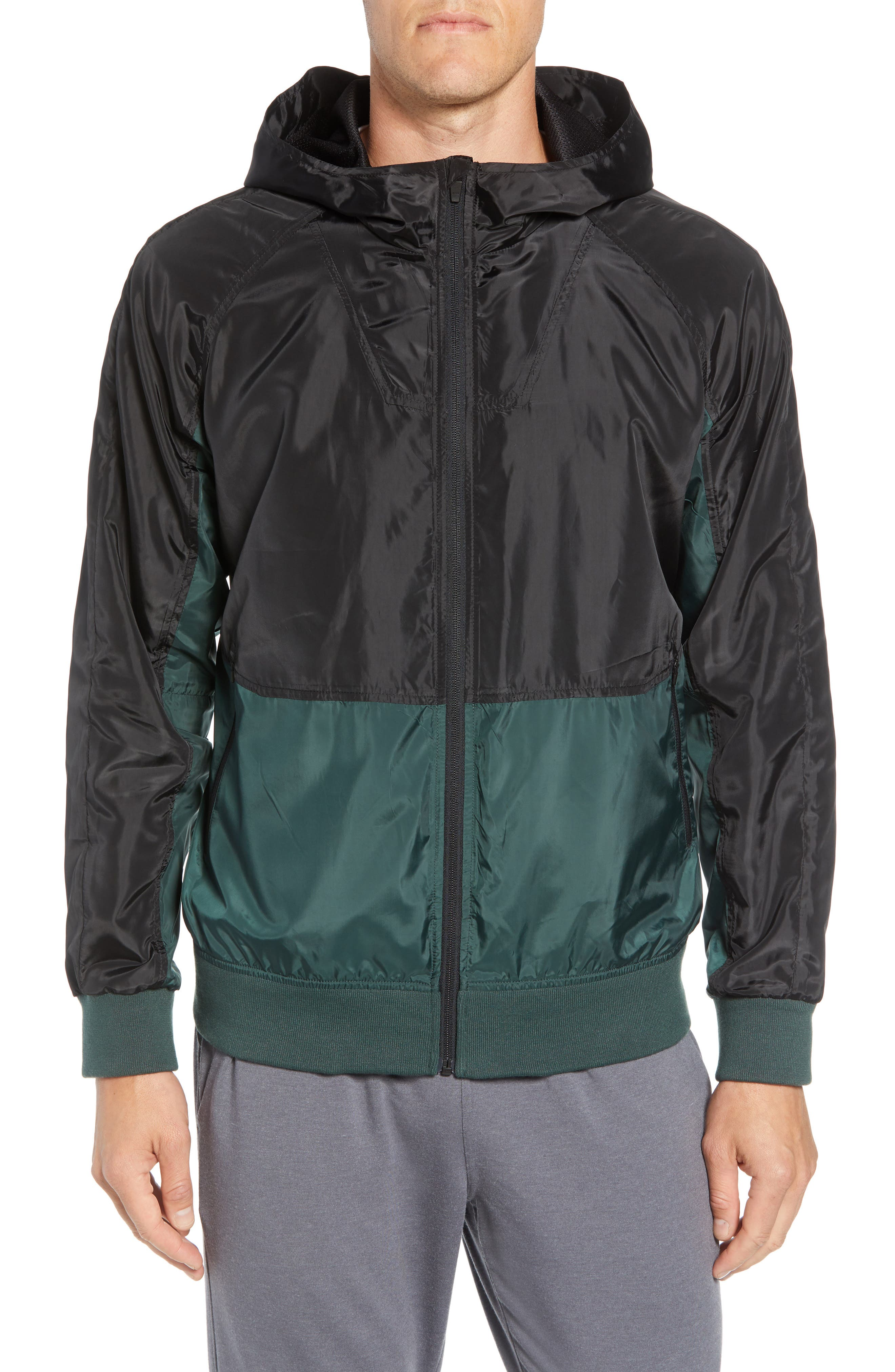 Colorblock Hooded Windbreaker Jacket,                             Alternate thumbnail 4, color,                             BLACK GREEN ODINITE