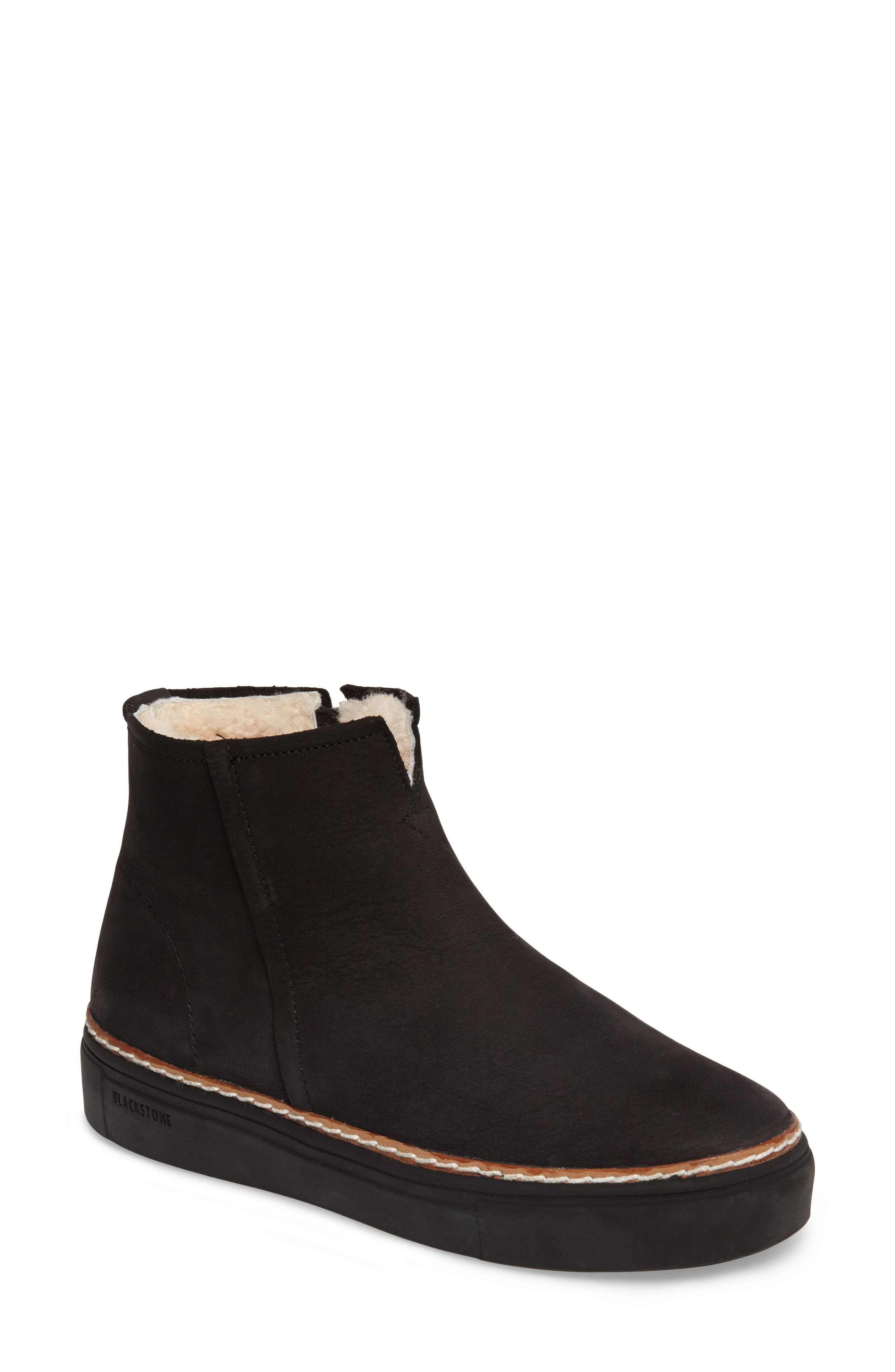 OL27 Genuine Shearling Lined Bootie,                             Main thumbnail 1, color,                             BLACK NUBUCK