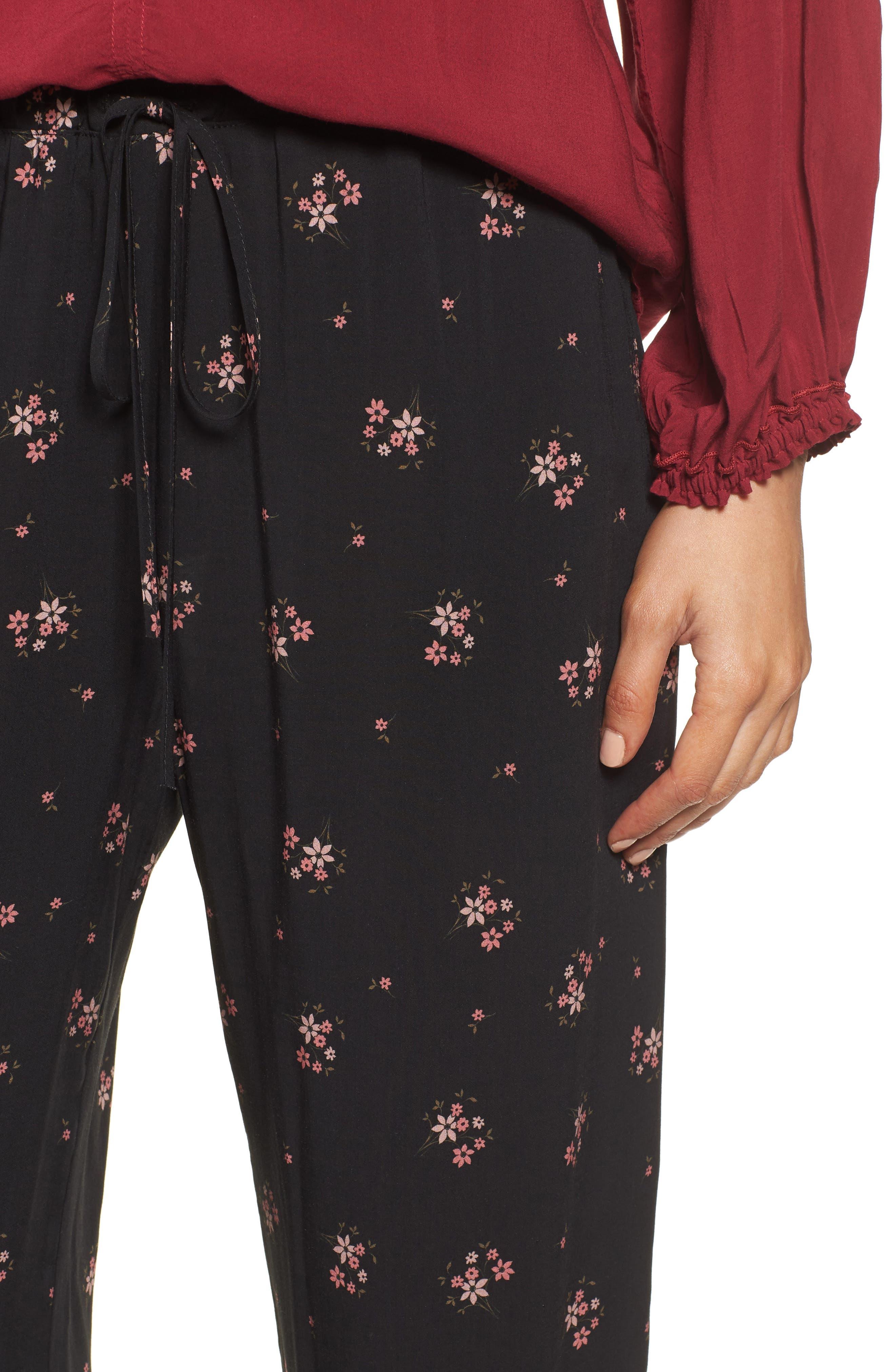 Floral Printed Pants,                             Alternate thumbnail 4, color,                             CAMELLIA
