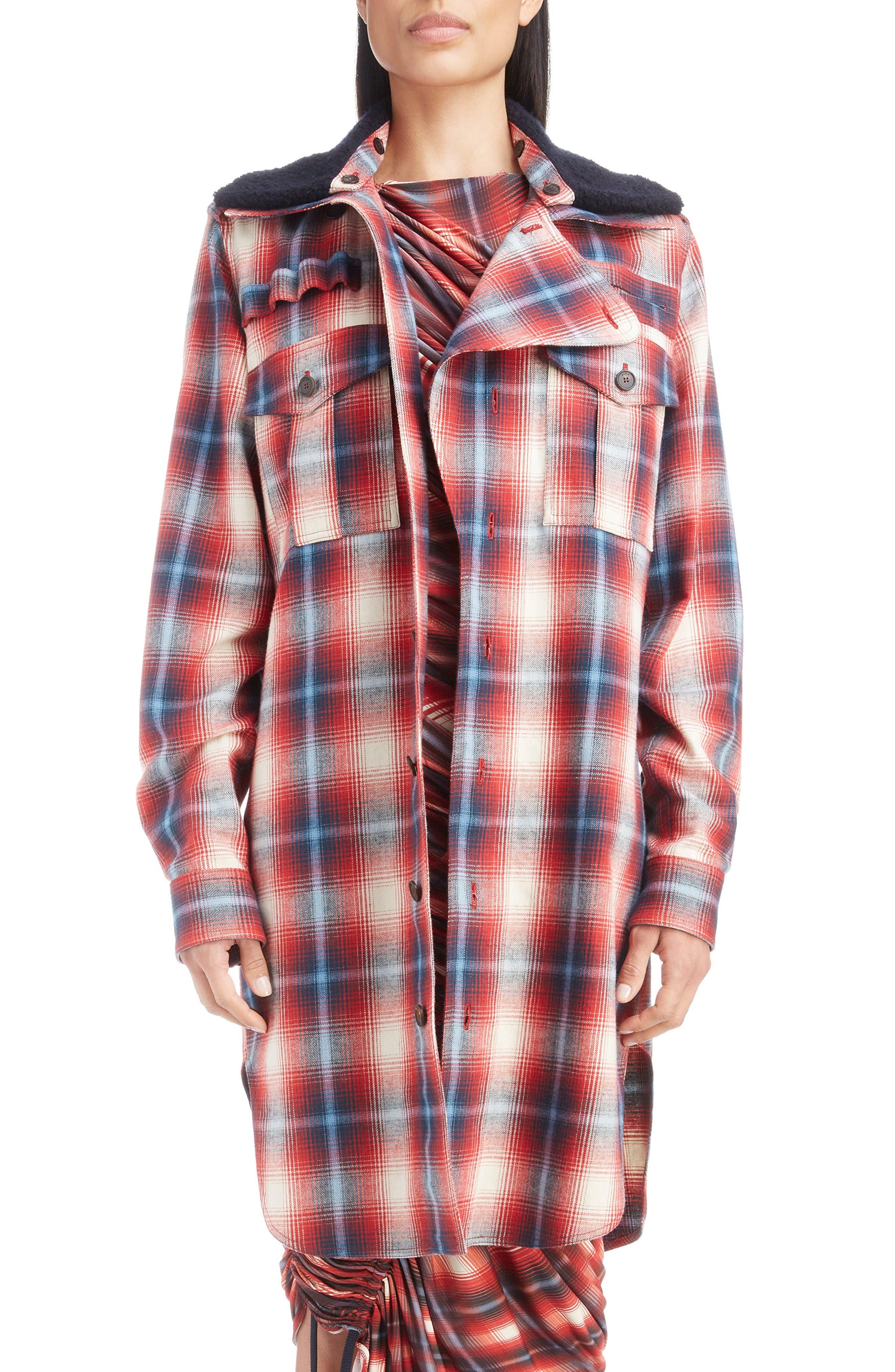 Removable Collar Plaid Cotton Jacket,                             Main thumbnail 1, color,                             ROUGE