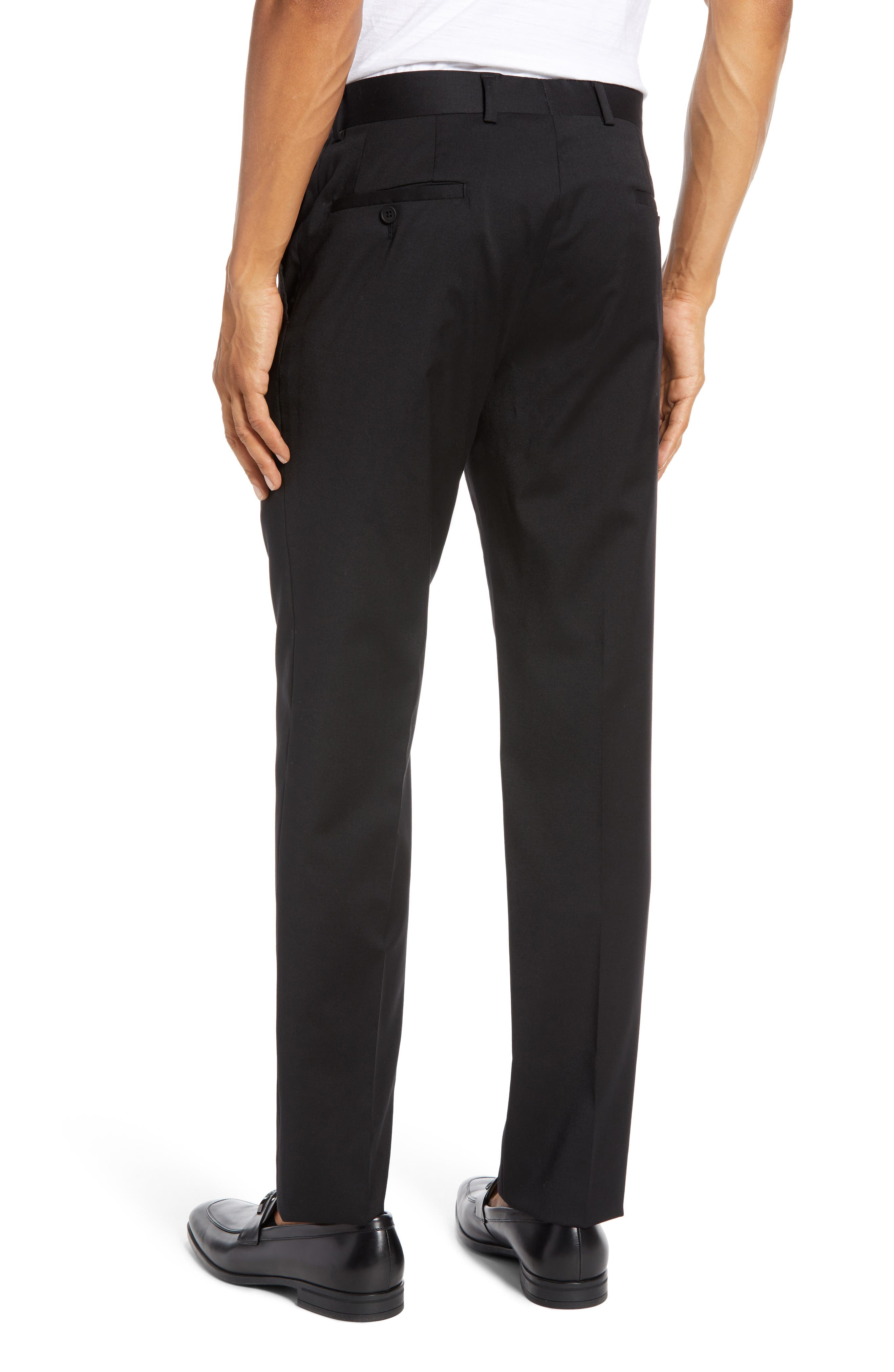 Trim Fit Stretch Wool Trousers,                             Alternate thumbnail 2, color,                             BLACK