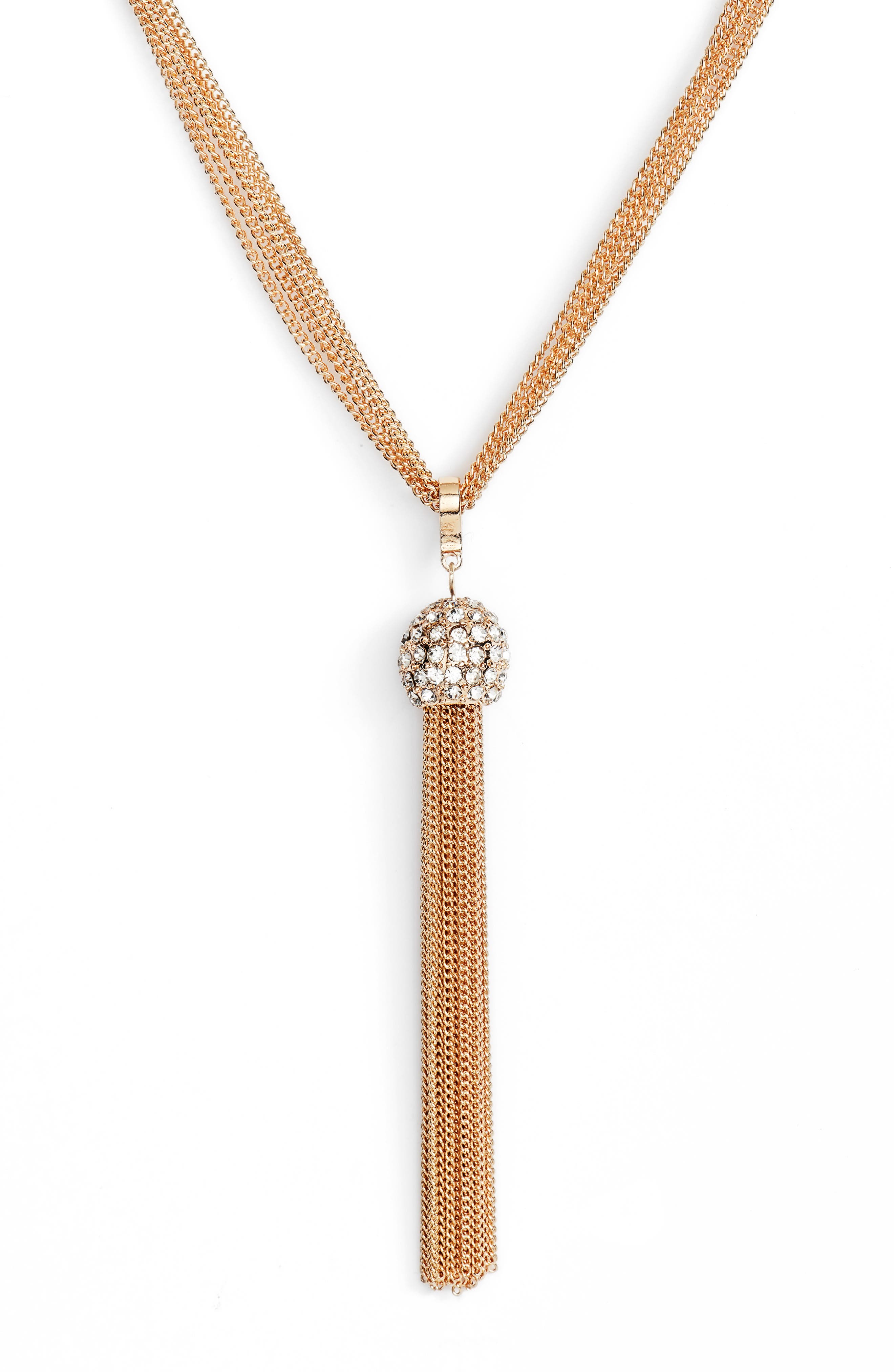 Chain Tassel Y-Necklace,                             Alternate thumbnail 2, color,                             GOLD/CRYSTAL