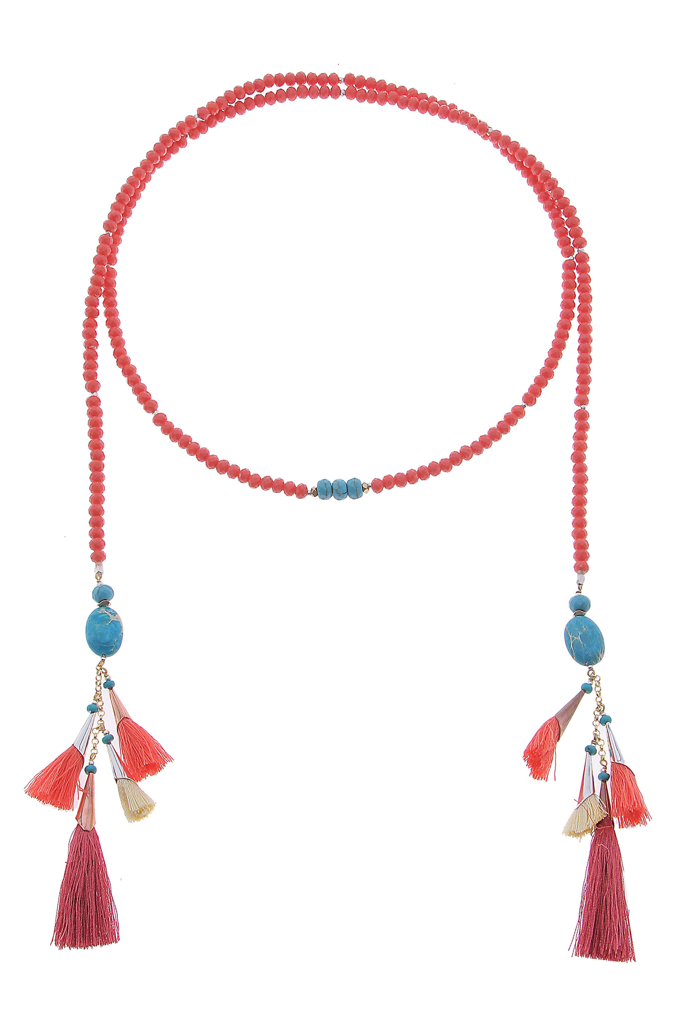 Lariat with Tassels,                         Main,                         color, ORANGE