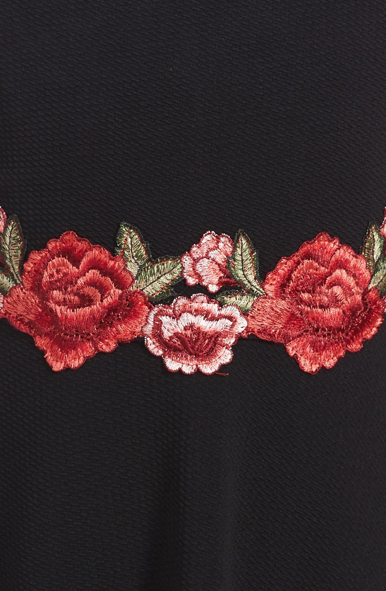 Embroidered Skater Dress,                             Alternate thumbnail 3, color,                             001