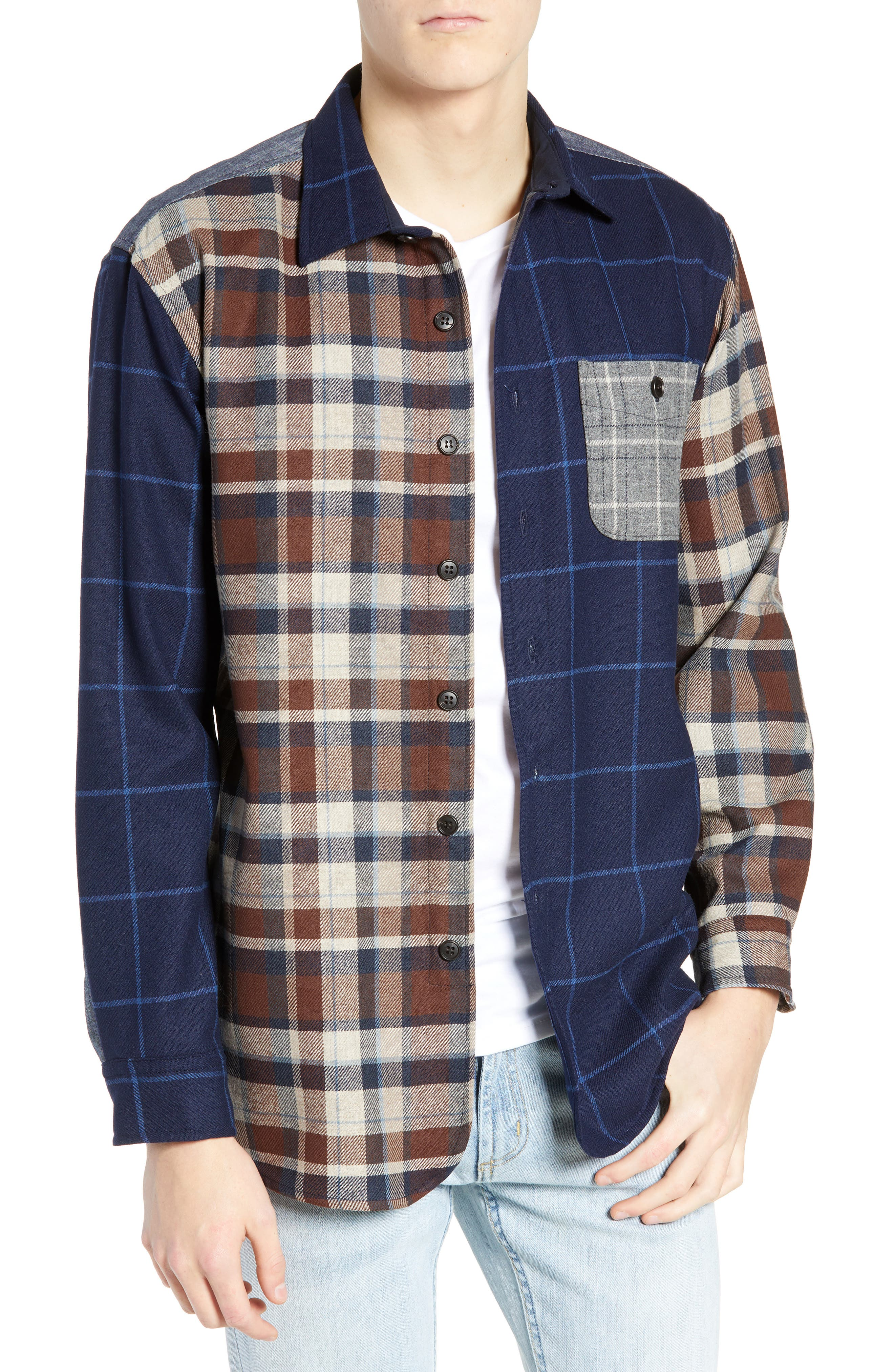 Pattern Block Wool Sport Shirt,                         Main,                         color, MIX IT UP