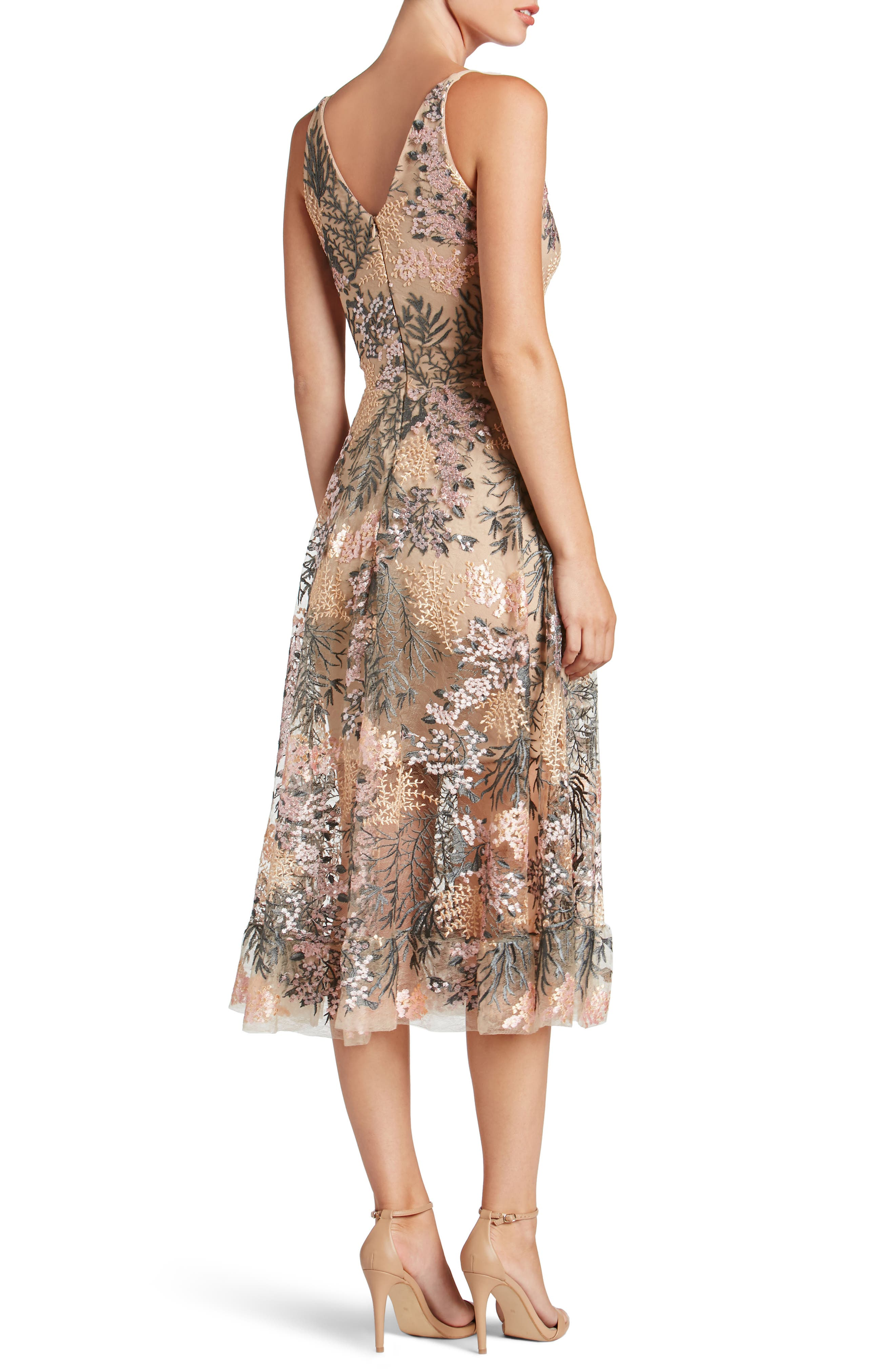 Audrey Embroidered Fit & Flare Dress,                             Alternate thumbnail 2, color,                             PINK BLOSSOM