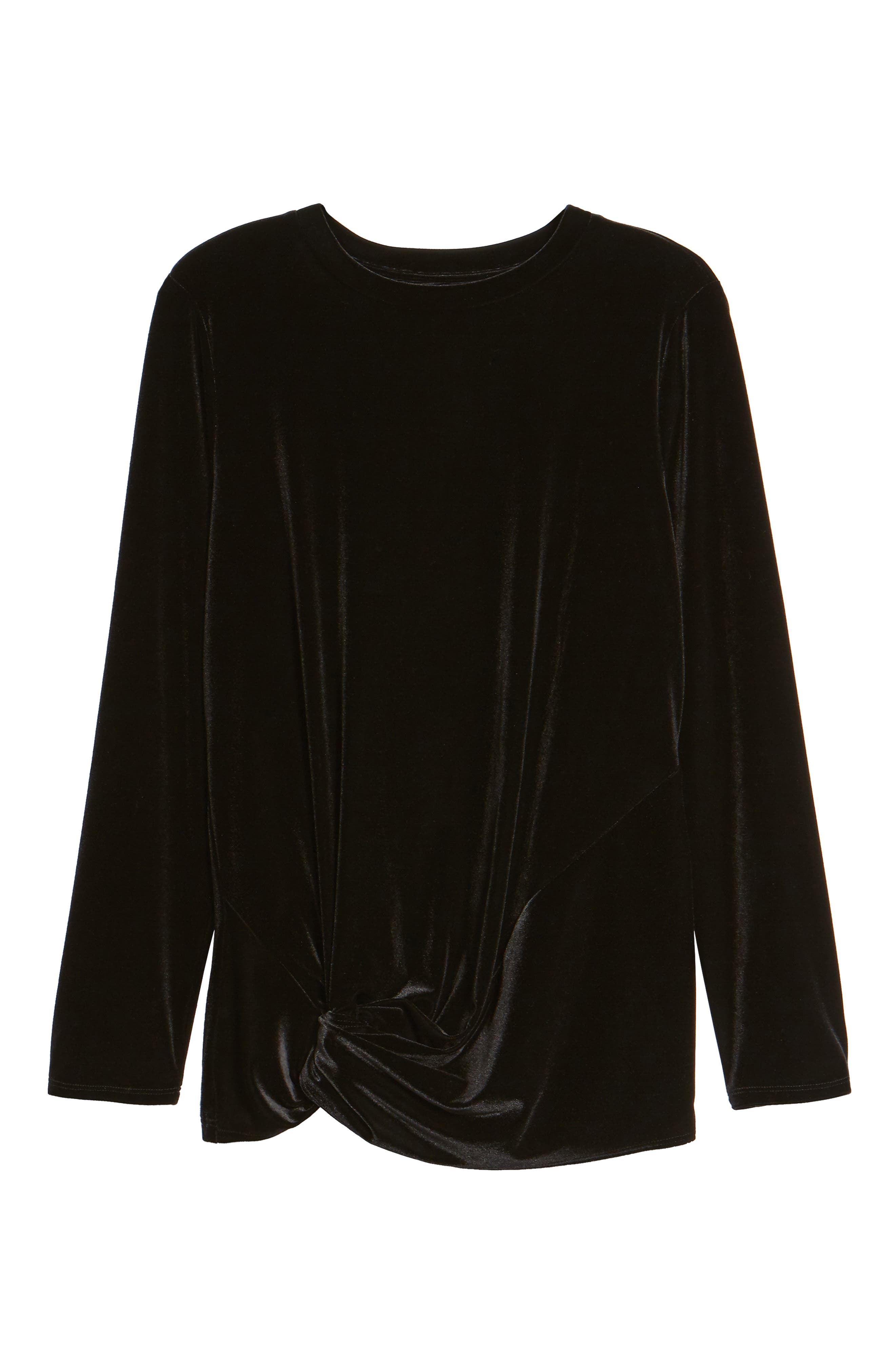 Twist Front Velvet Top,                             Alternate thumbnail 6, color,                             BLACK