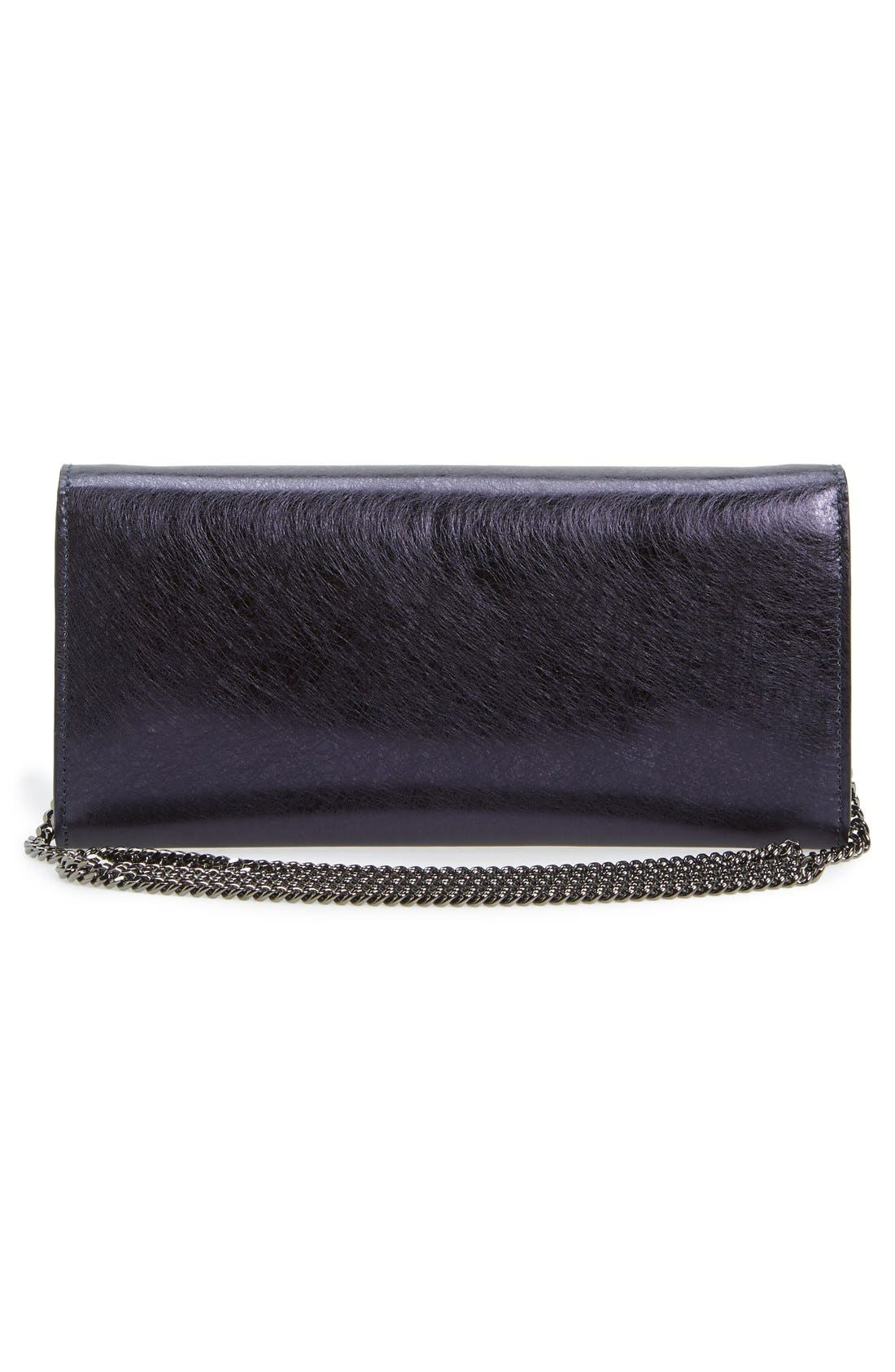 'Milla' Etched Metallic Spazzolato Leather Flap Clutch,                             Alternate thumbnail 3, color,                             410