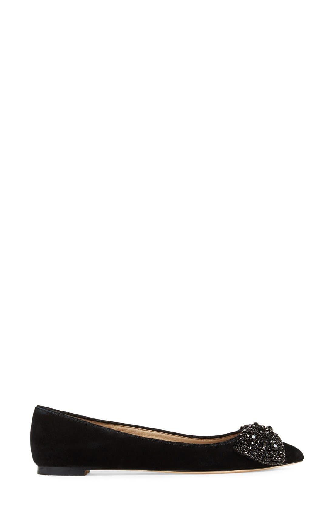Vanessa Embellished Bow Flat,                             Alternate thumbnail 4, color,                             001