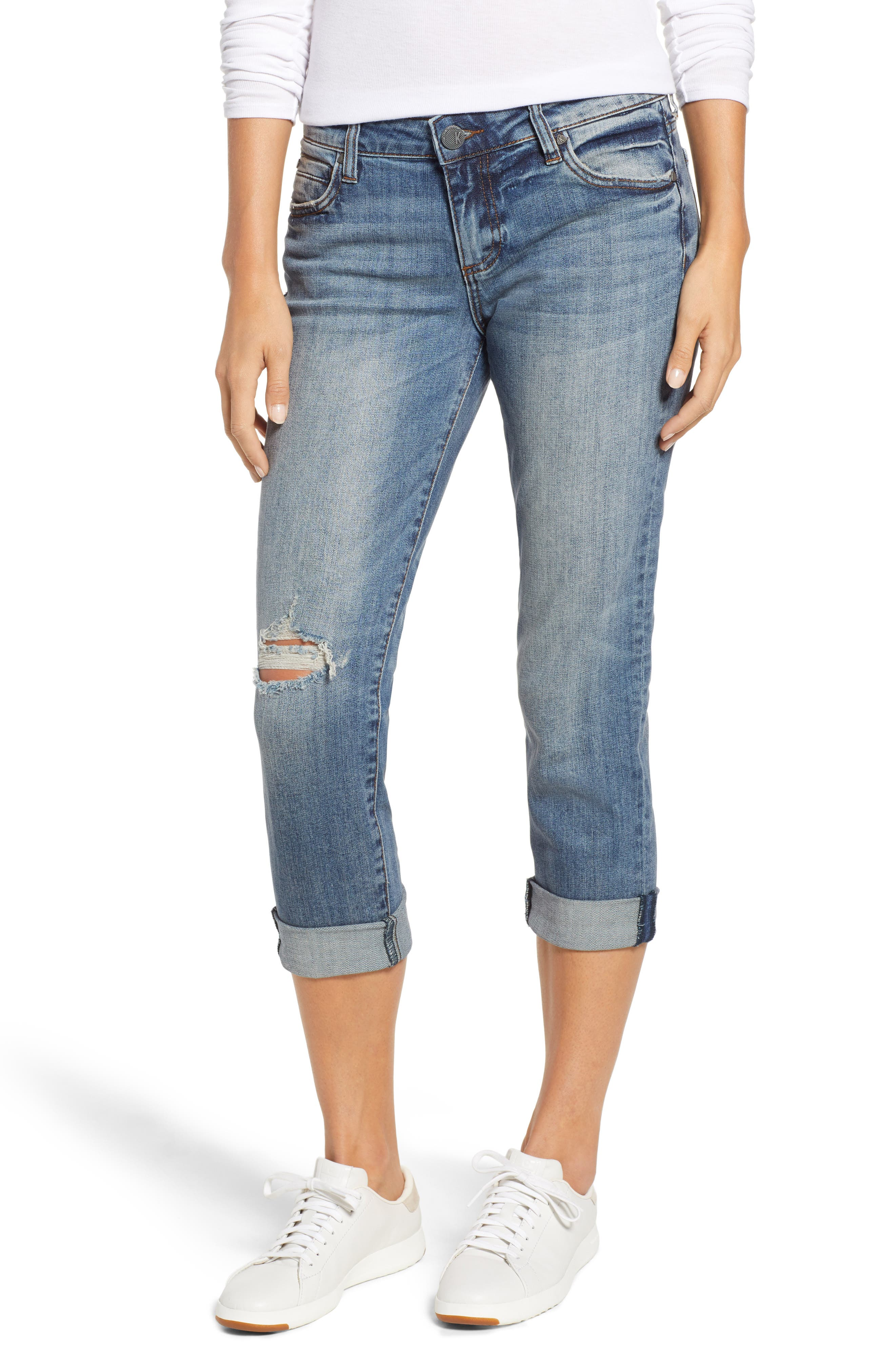 Catherine Ripped Straight Leg Ankle Jeans,                             Main thumbnail 1, color,                             400