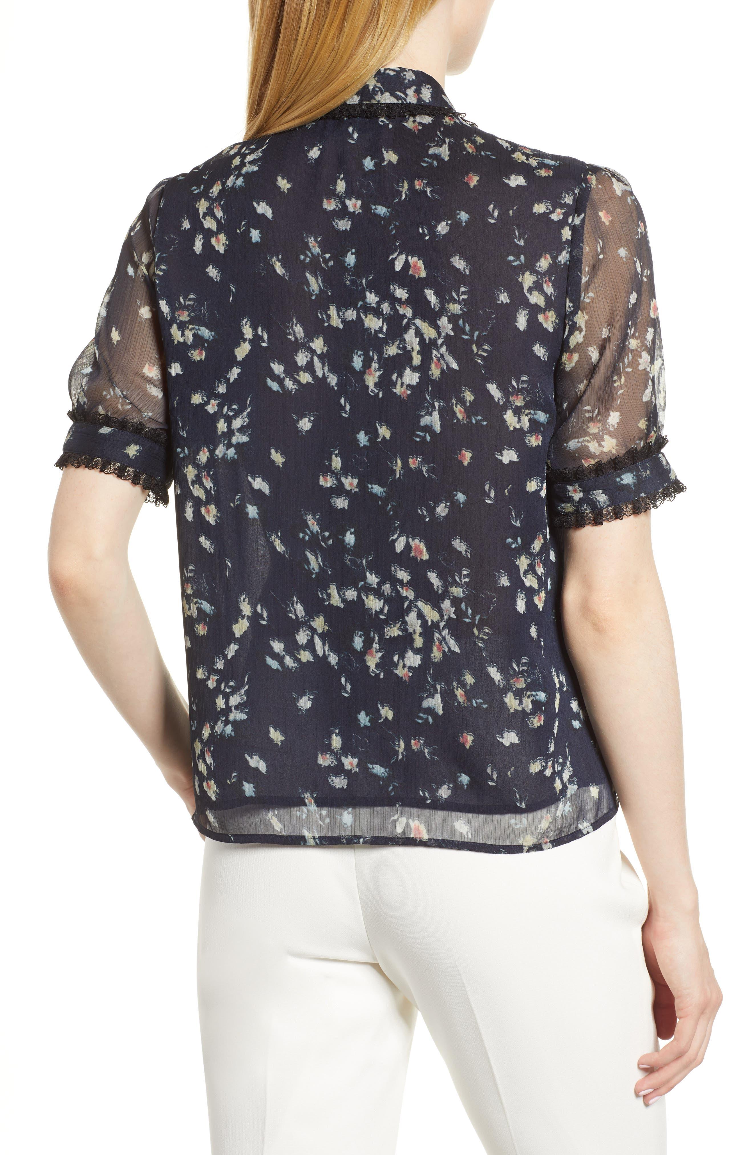 Floral Print Ruffle Trim Shirt,                             Alternate thumbnail 2, color,                             008