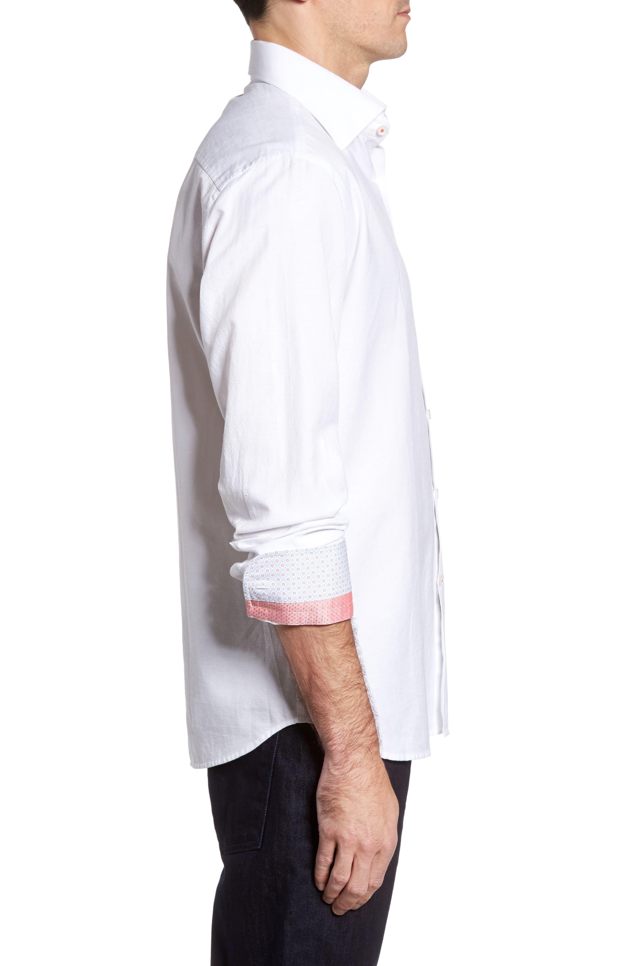Dobby Cotton & Linen Sport Shirt,                             Alternate thumbnail 10, color,