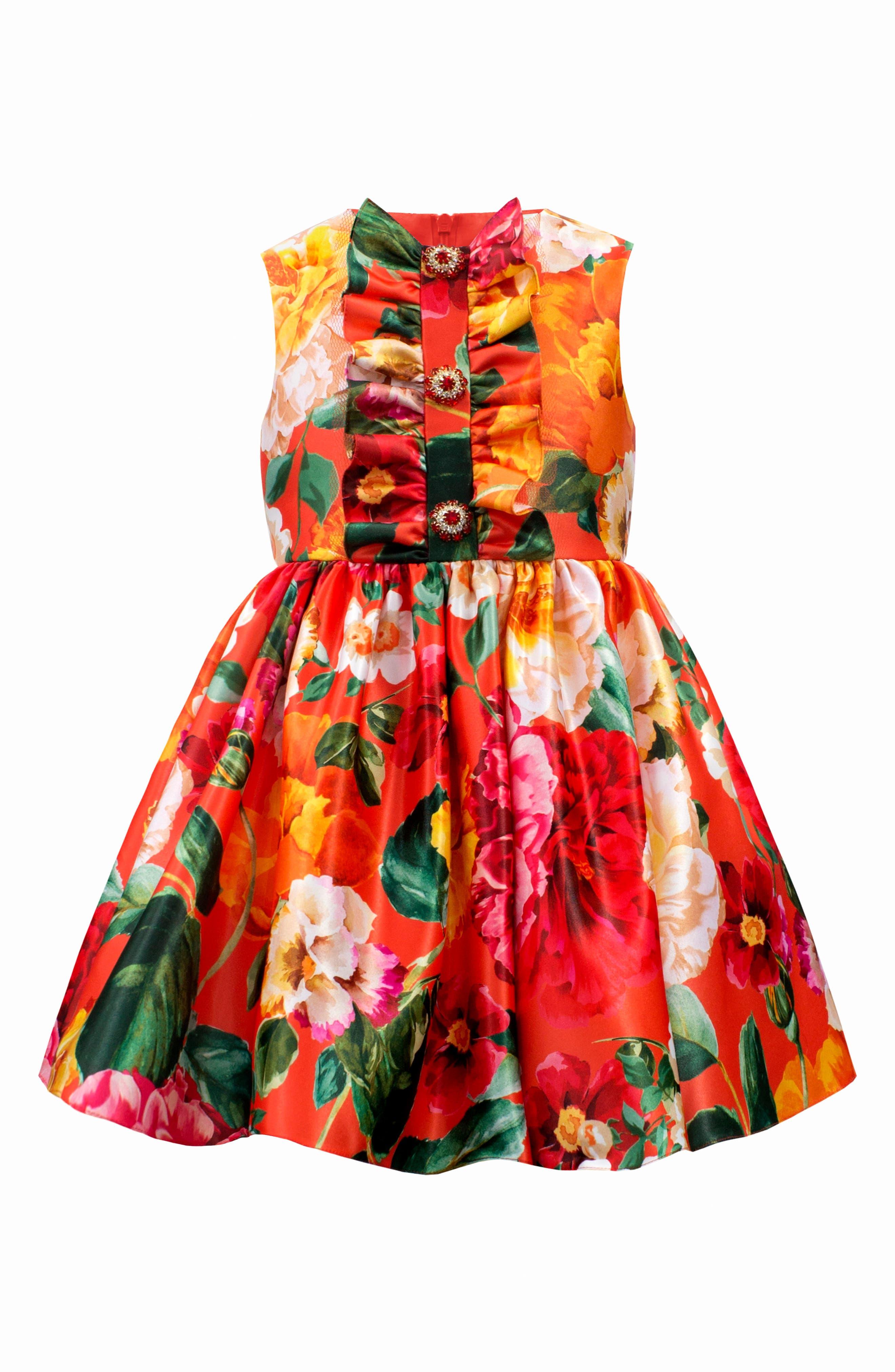 DAVID CHARLES,                             Floral Print Frilled Satin Party Dress,                             Main thumbnail 1, color,                             ORANGE